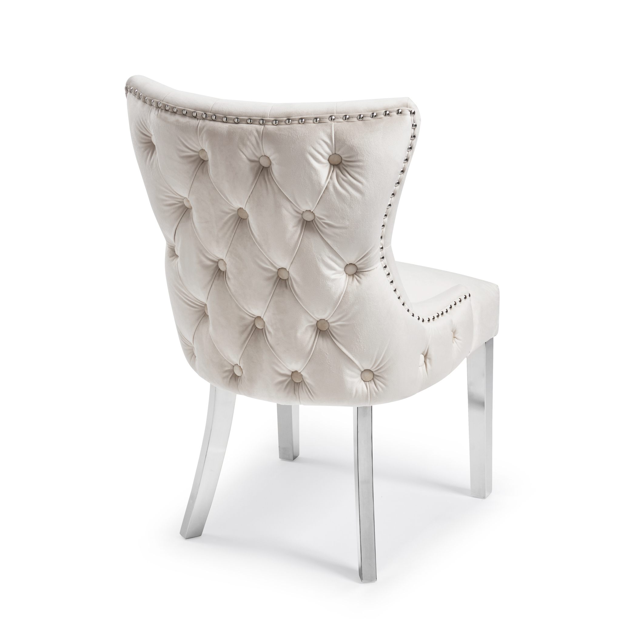 Knightsbridge Buttoned Brushed Velvet Dining Chair in Cream