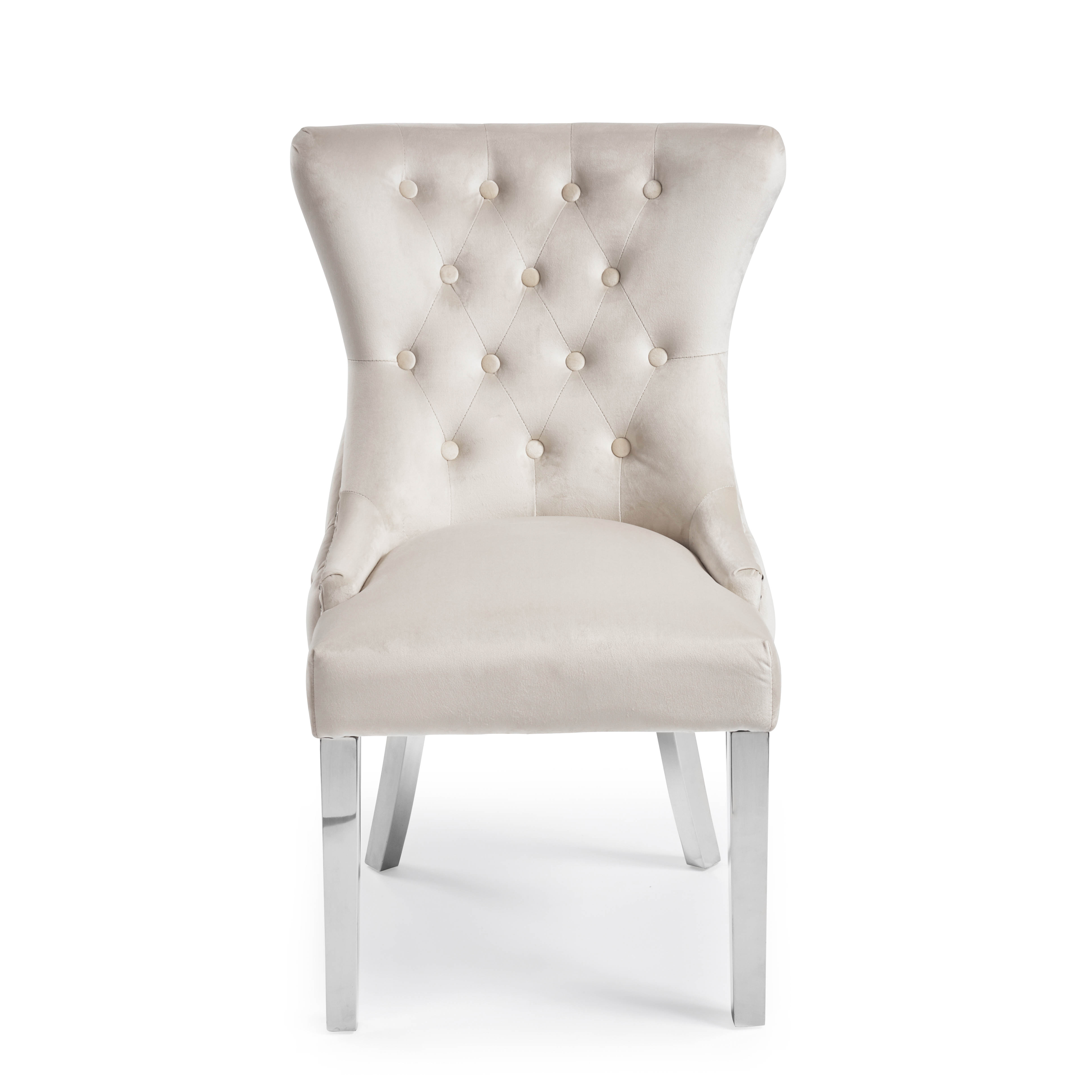 Knightsbridge Buttoned Brushed Velvet Dining Chair with Polished Stainless Steel Legs – Cream