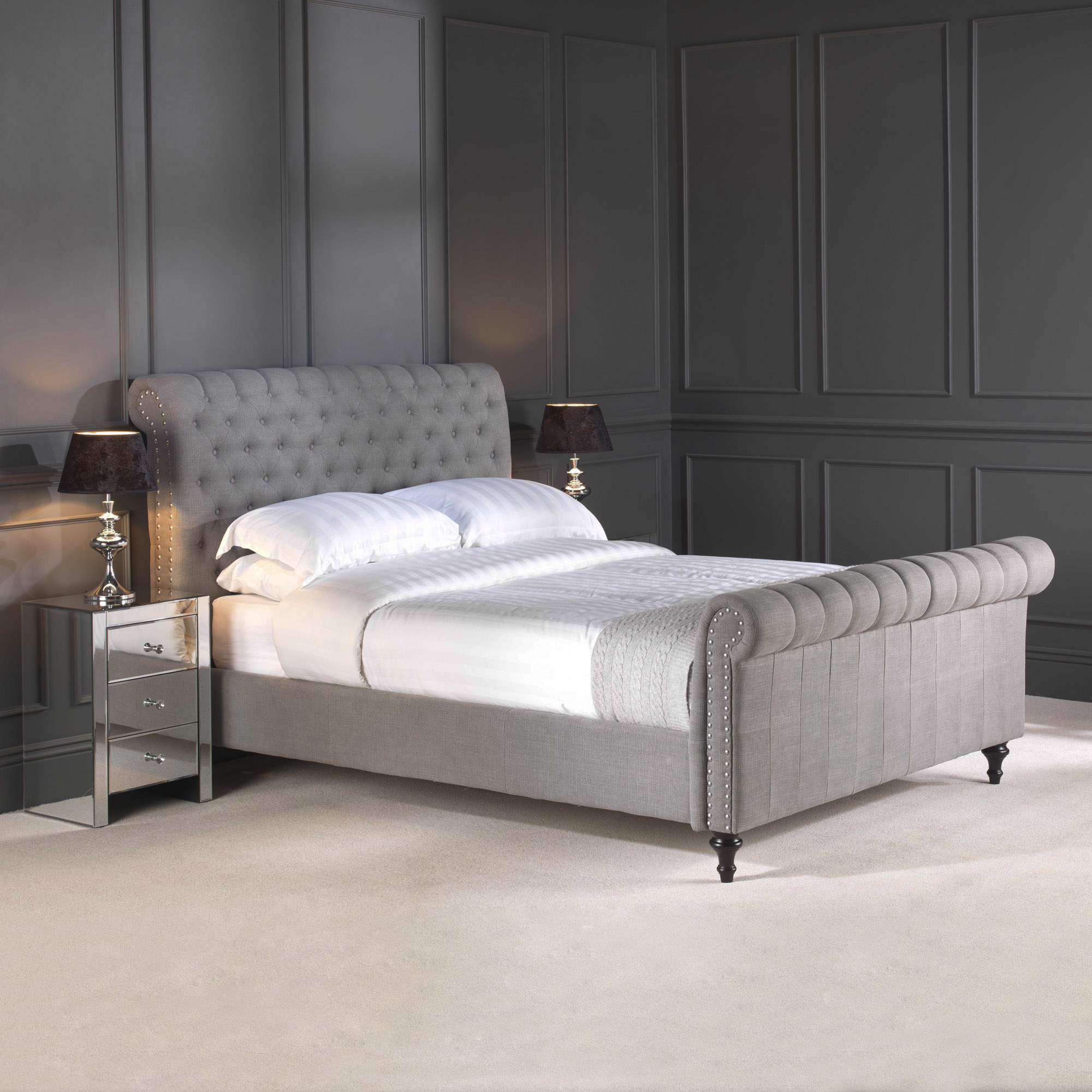 Super King Size Steel Premium Linen Upholstered Chesterfield Bed