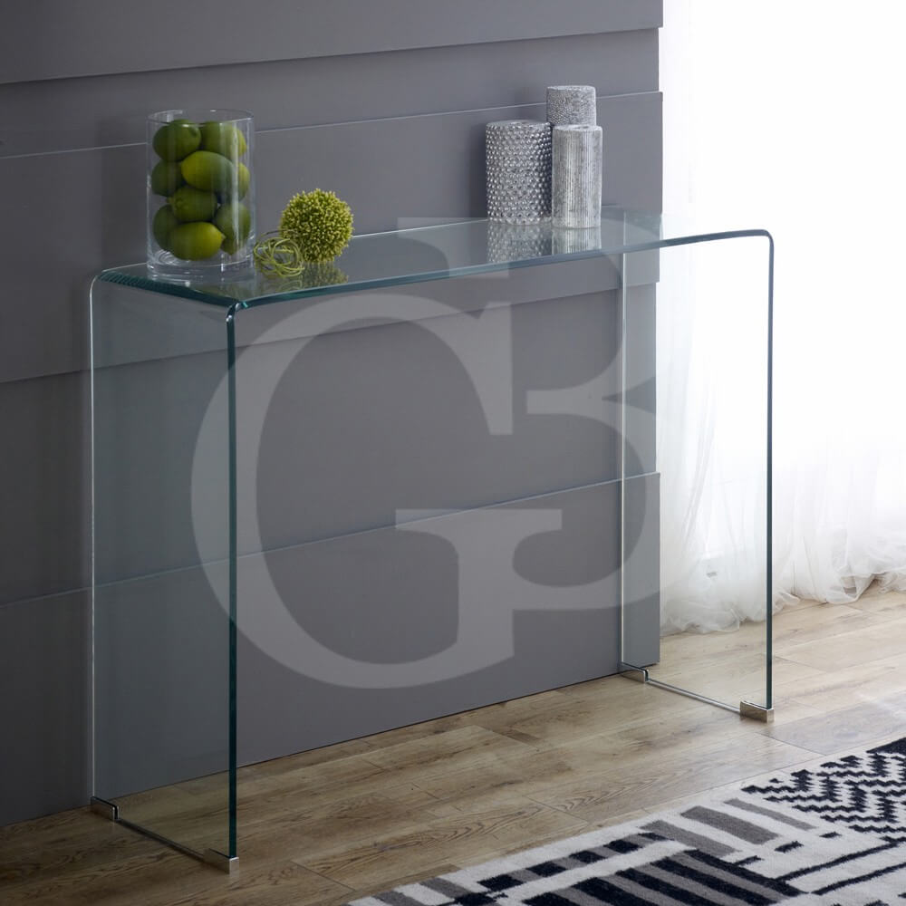 Small Clear Glass Console Table