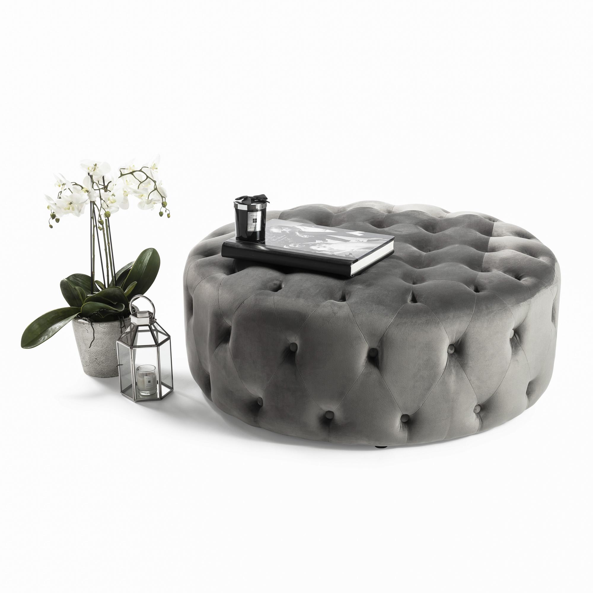 Buttoned Upholstered Grey Velvet Footstool & Ottoman