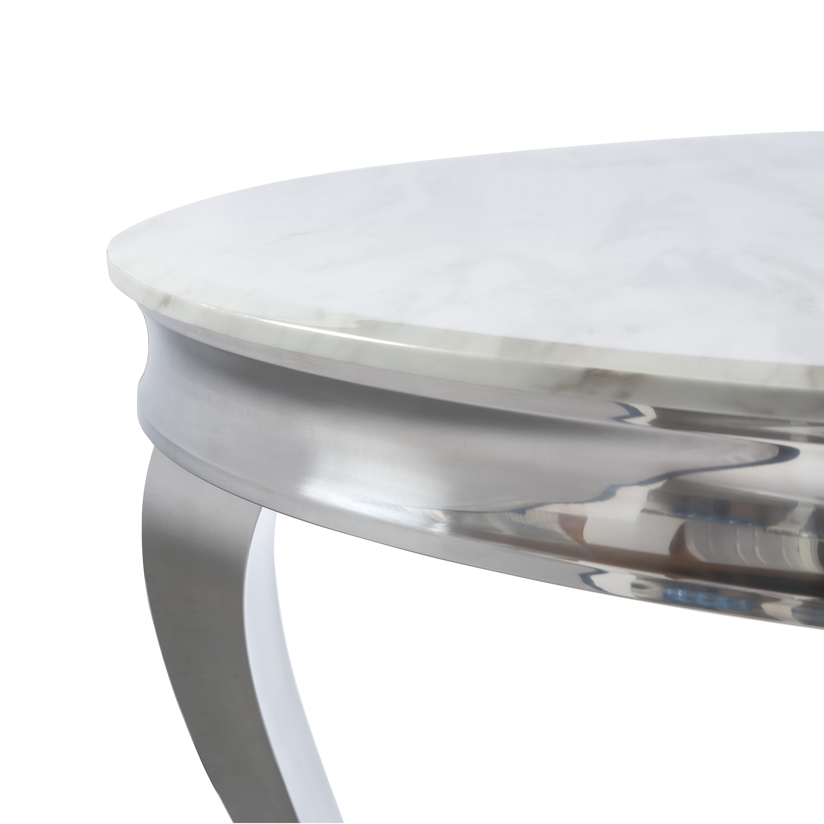 1.3m Louis Polished Circular Stainless Steel Dining Table with White Marble