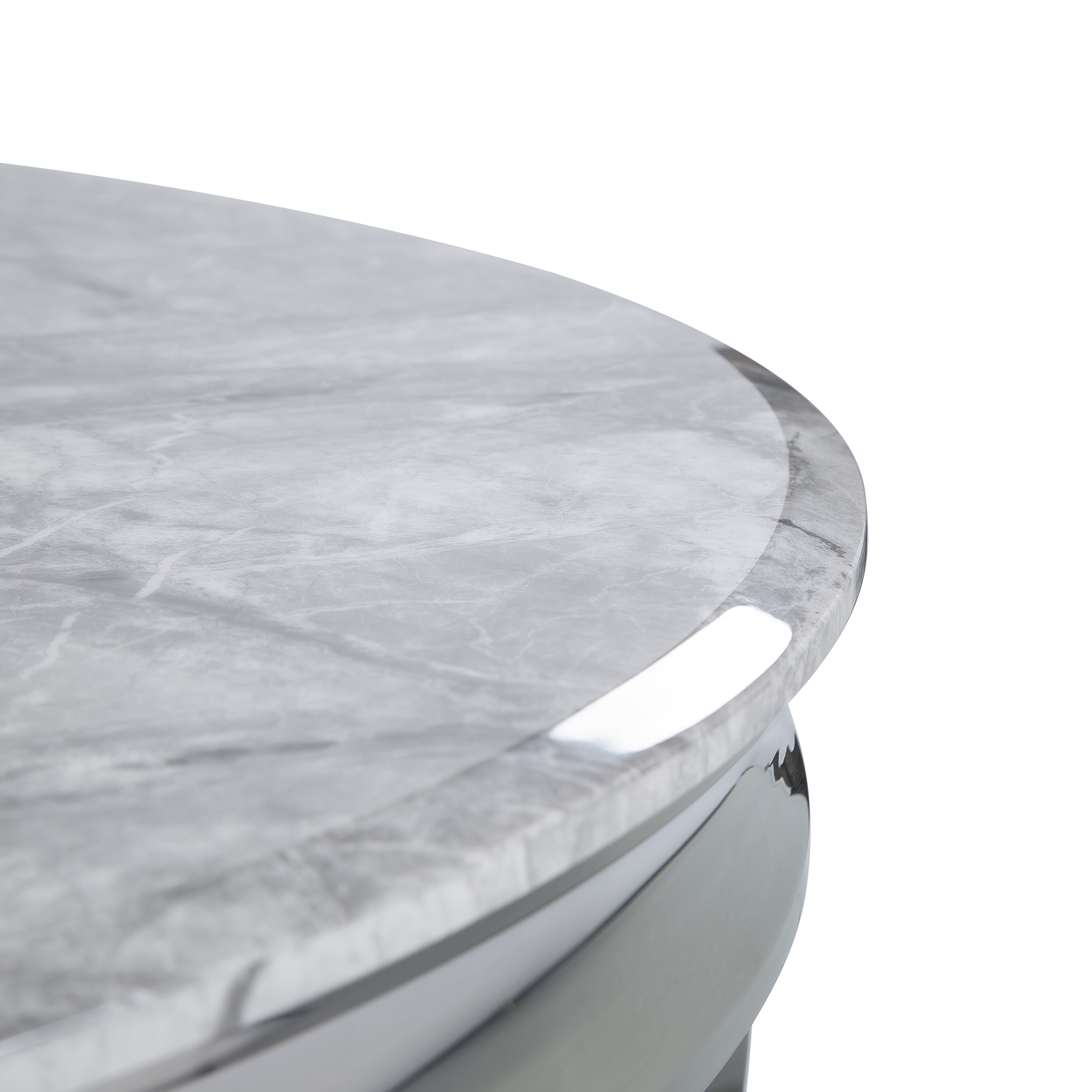 1.3m Louis Polished Circular Stainless Steel & Grey Marble Dining Table