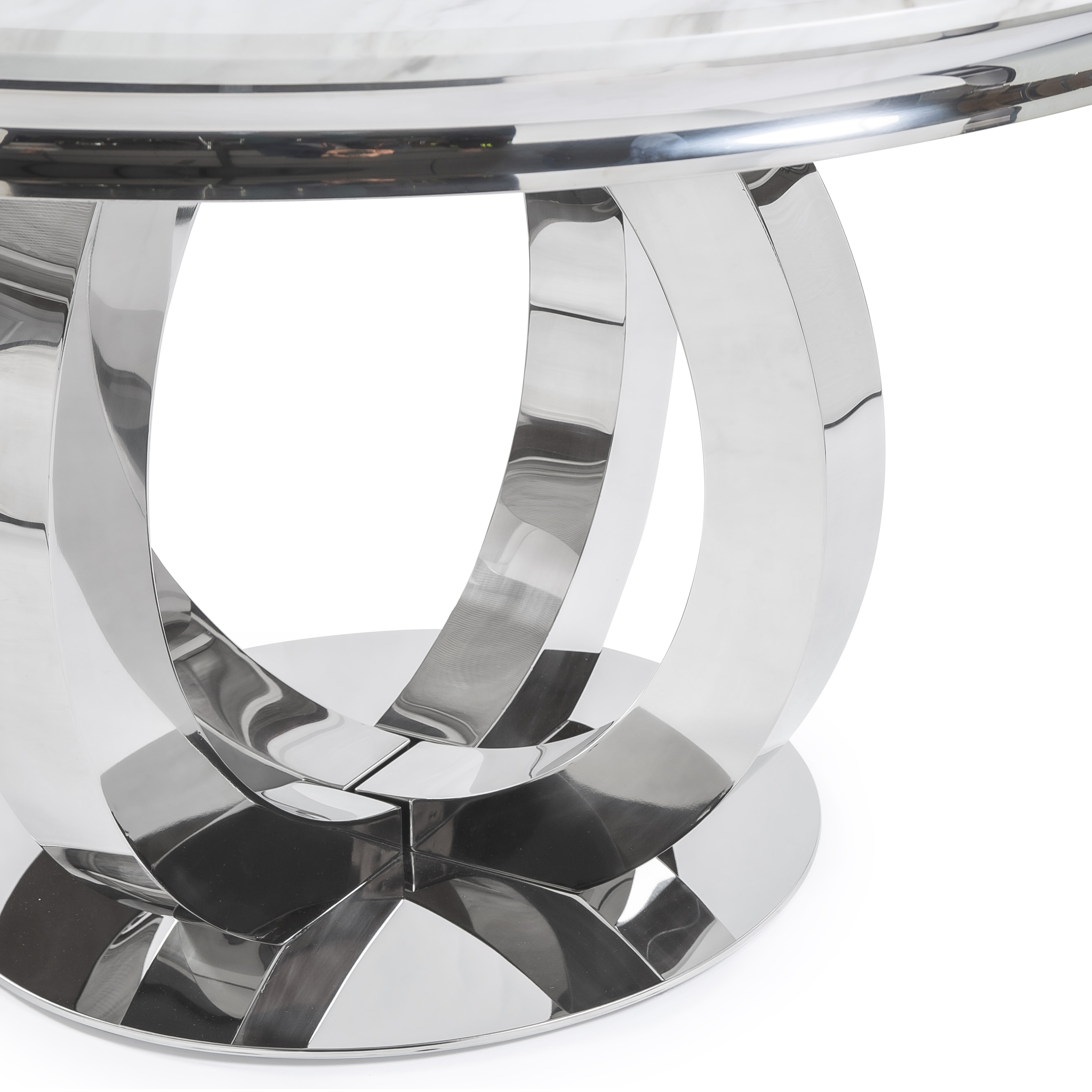 1.3M Polished Circular Stainless Steel Dining Table with White Marble Top