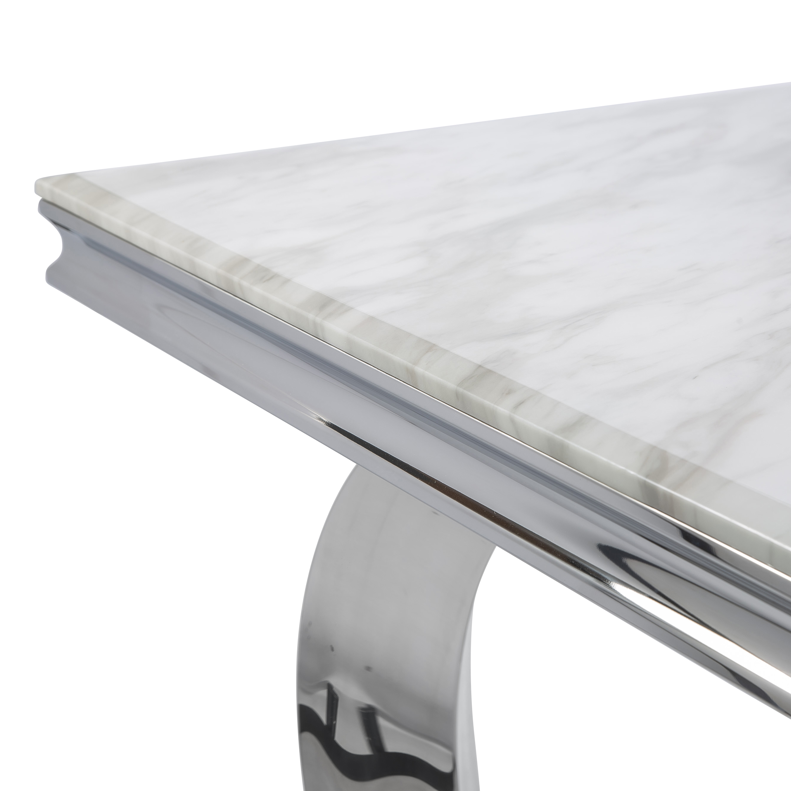 1.8M Pisa Polished Steel Dining Table with White Marble Top