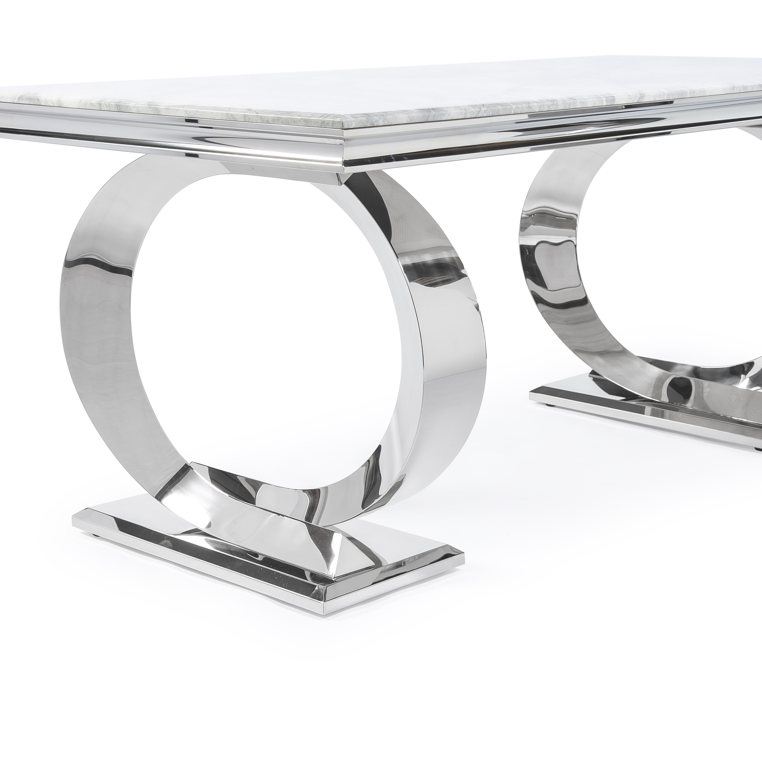 1.8M Pisa Polished Steel Dining Table with Grey Marble Top