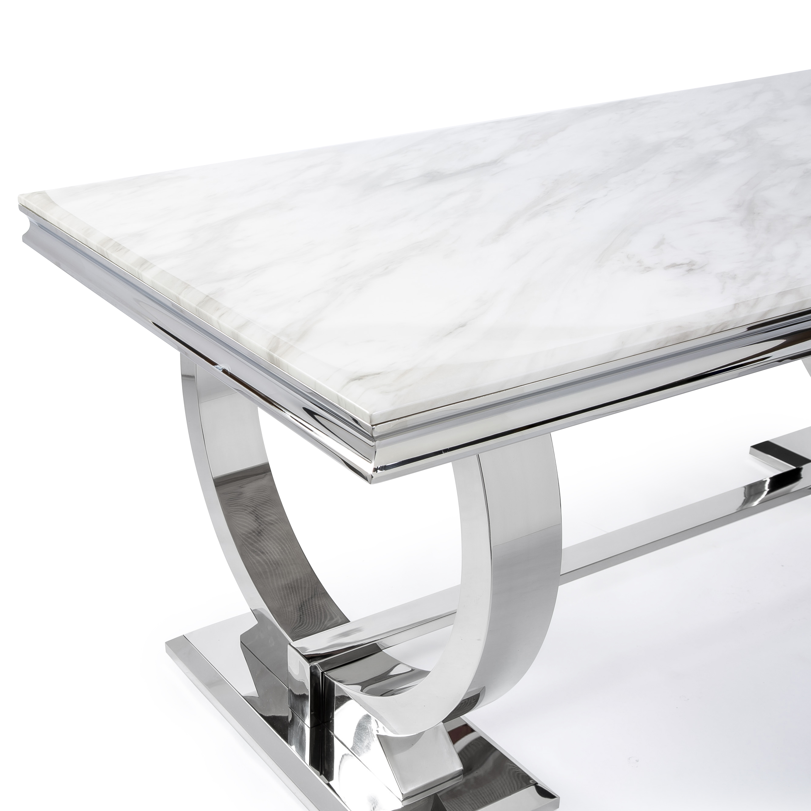 Siena 1.8M White Marble Polished Steel Dining Table