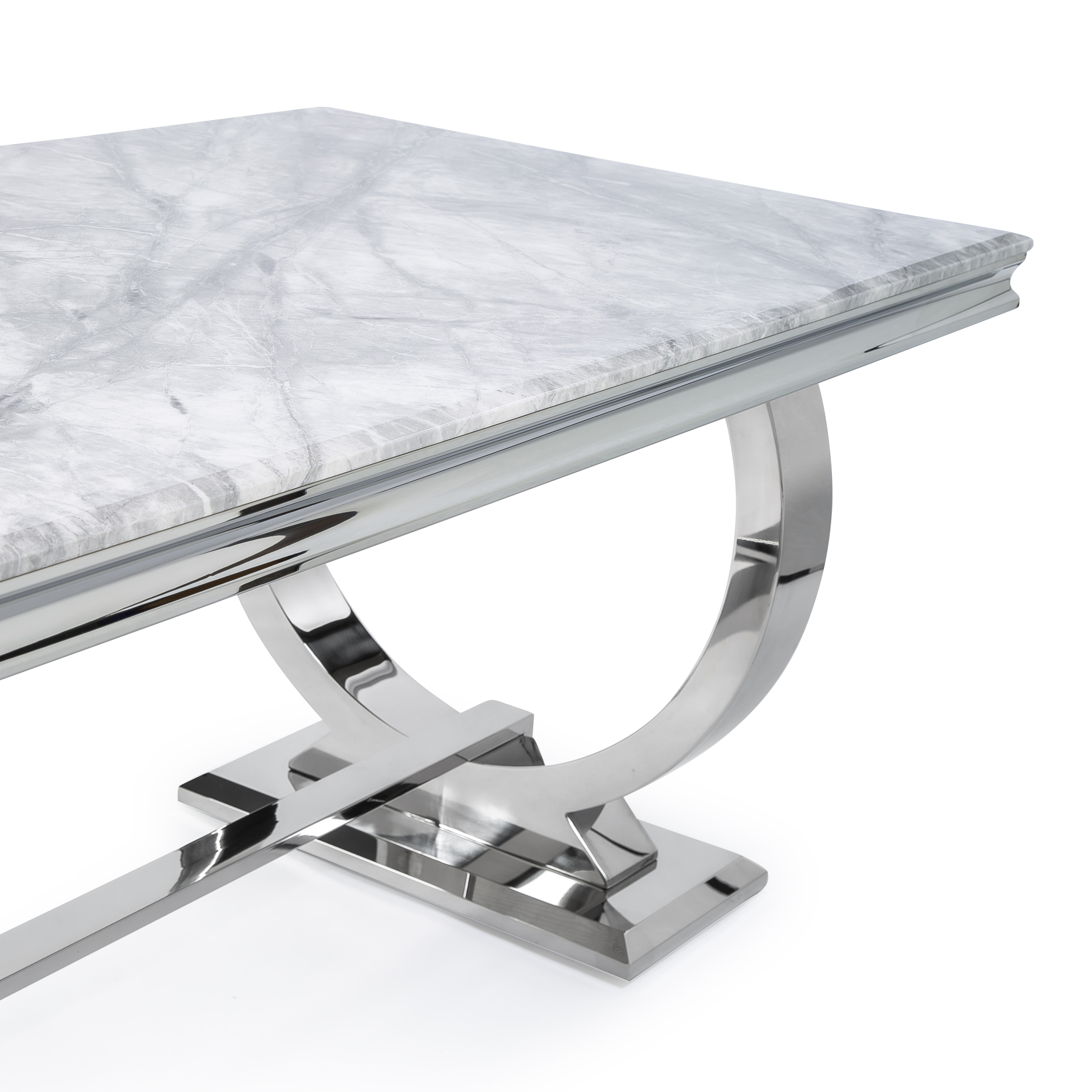 Siena 1.8M Grey Marble Polished Steel Dining Table