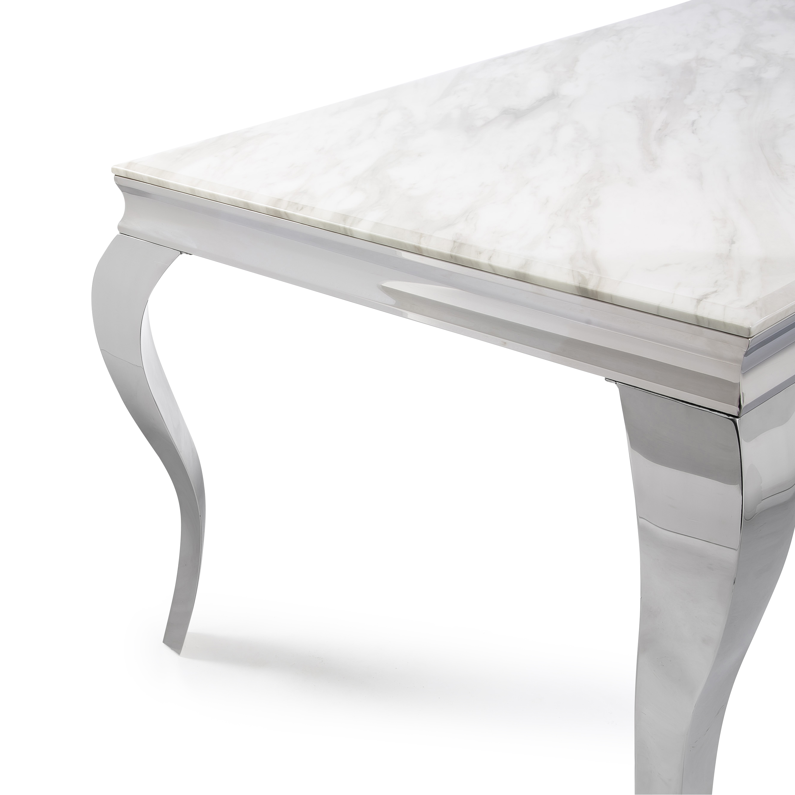 1.8m Louis Polished Steel Dining Table with White Marble Top