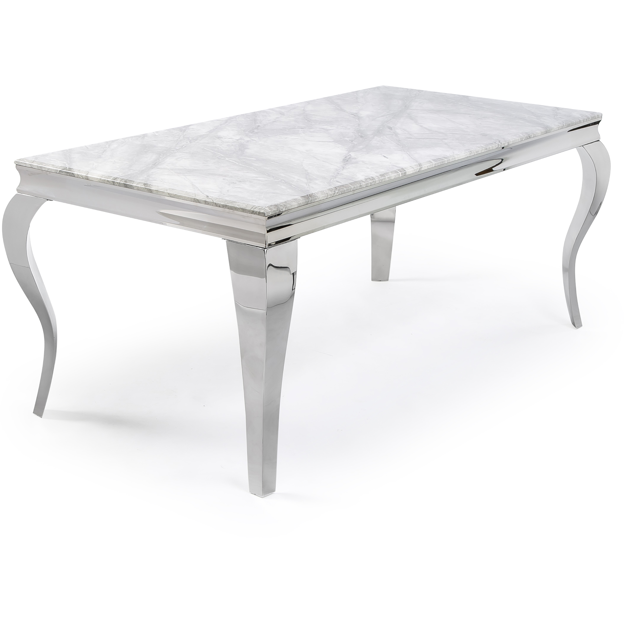 1.8m Louis Polished Steel Dining Table with Grey Marble Top