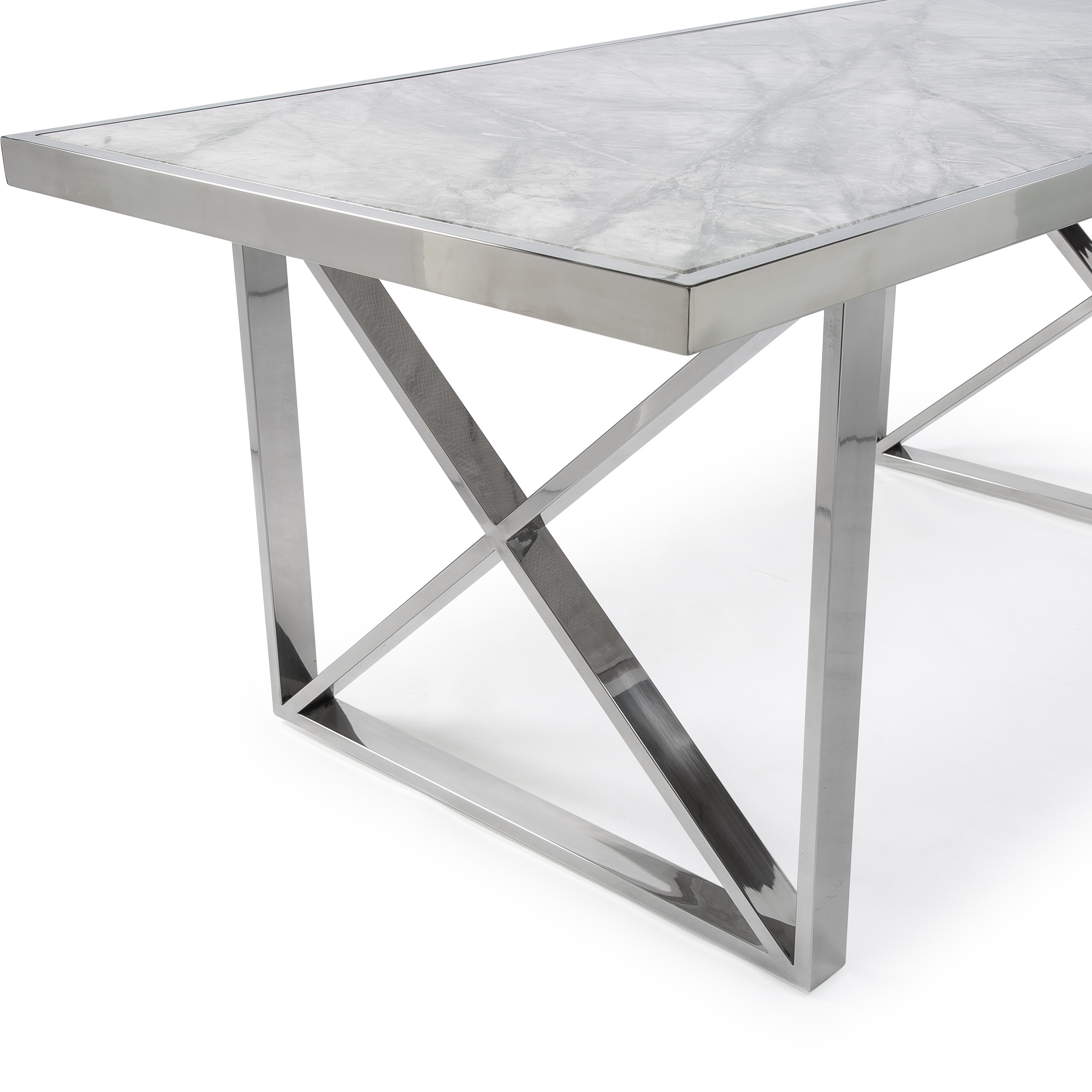 1.8M Tuscany Grey Marble Dining Table with a Polished Steel Cross Structure Base
