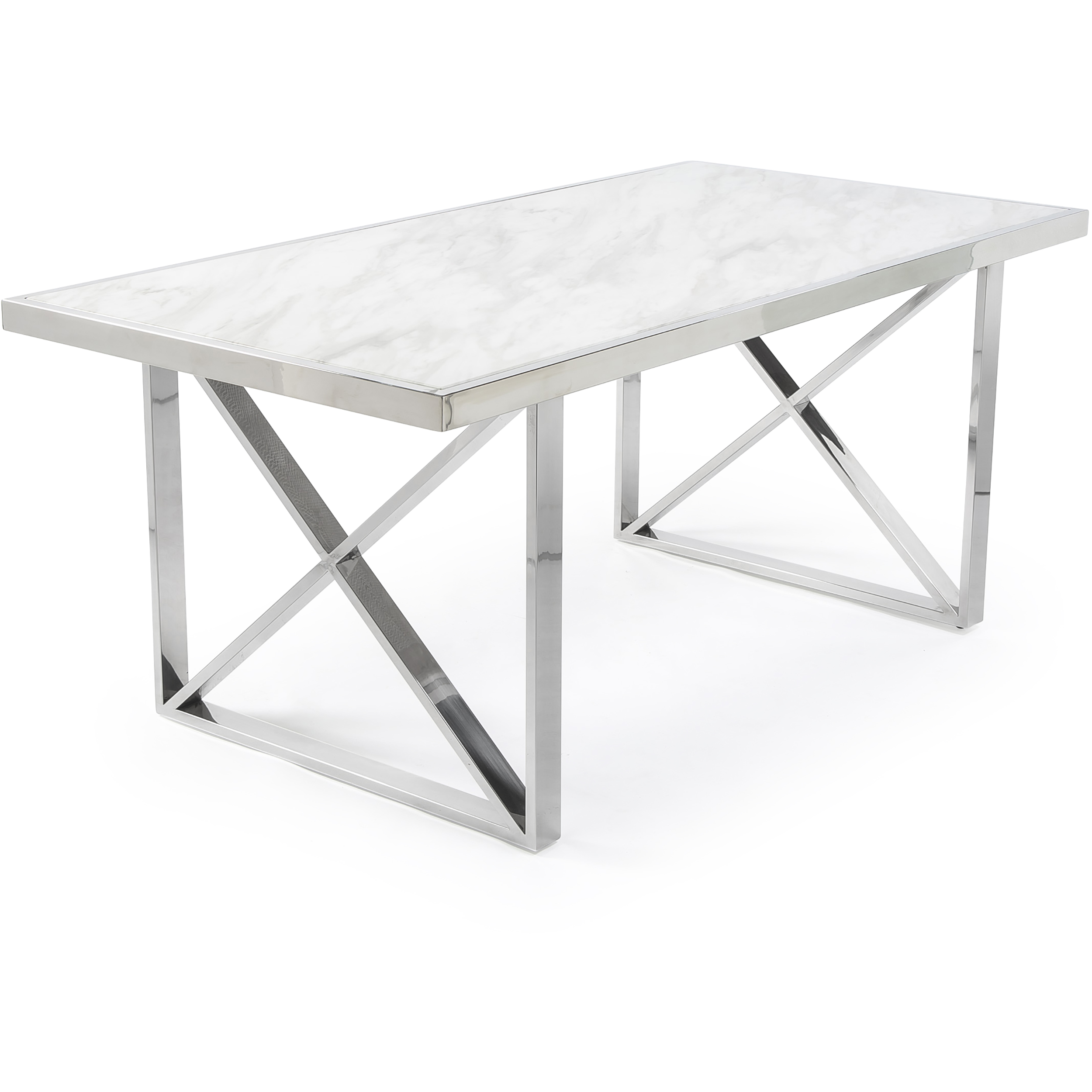 1.8M Tuscany White Marble Dining Table with a Polished Steel Cross Structure Base