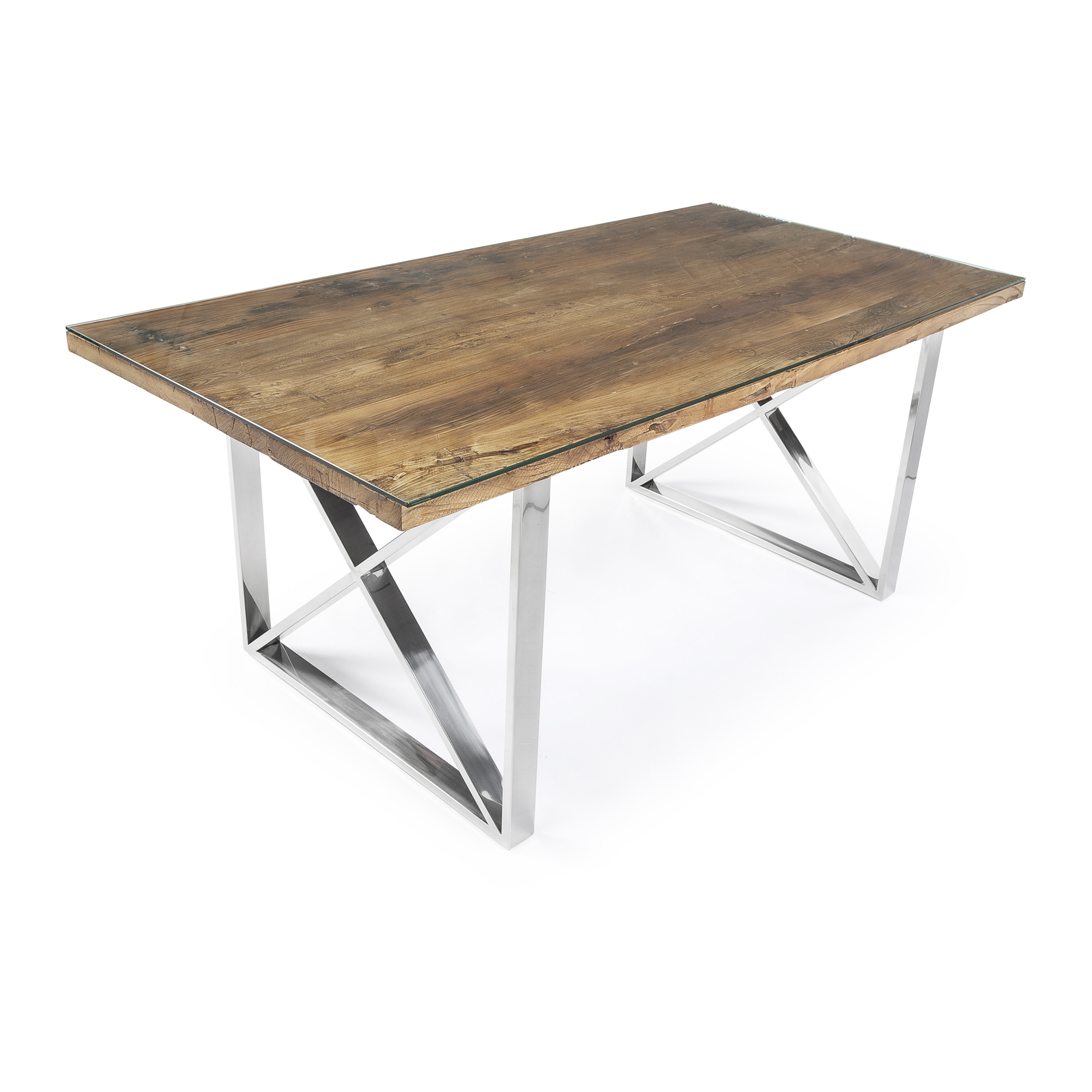 1.8M Tuscany Polished Steel Dining Table Reclaimed Elm Top