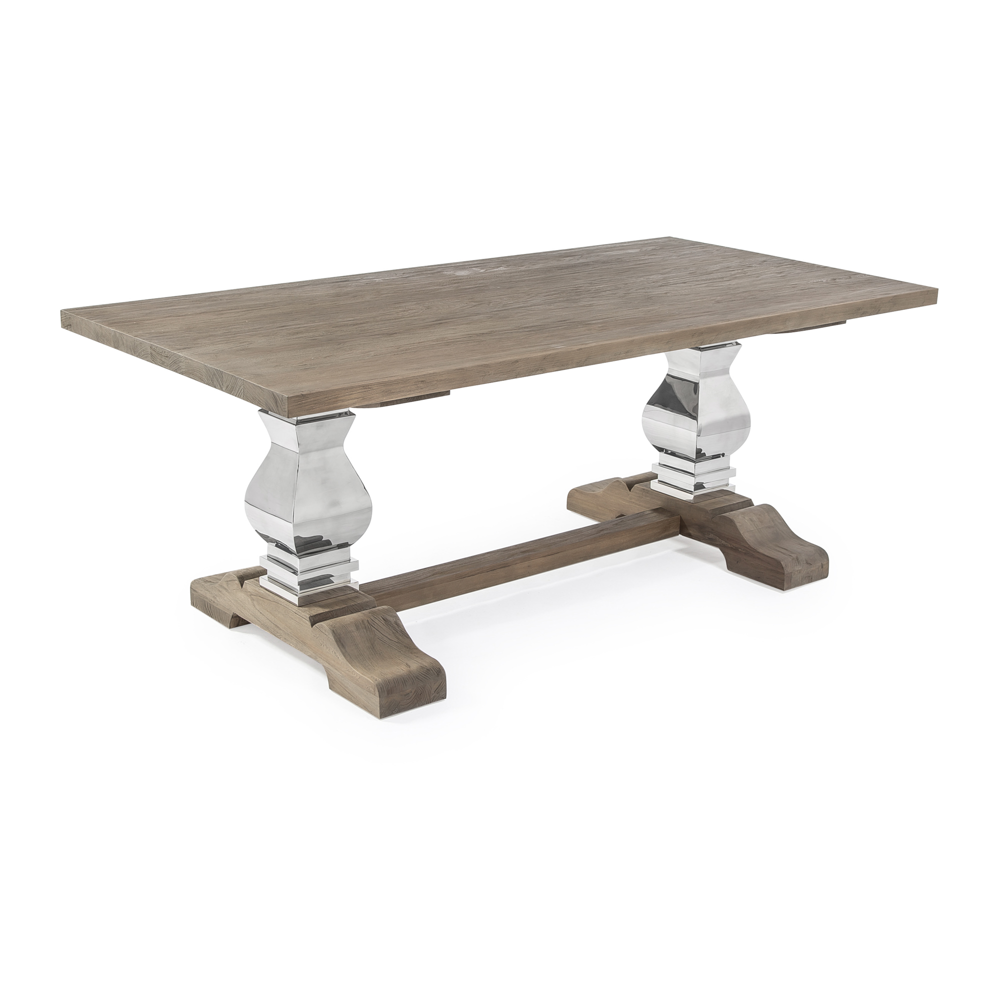 Large 2M Reclaimed Elm Dining Table with a Stainless Steel Base