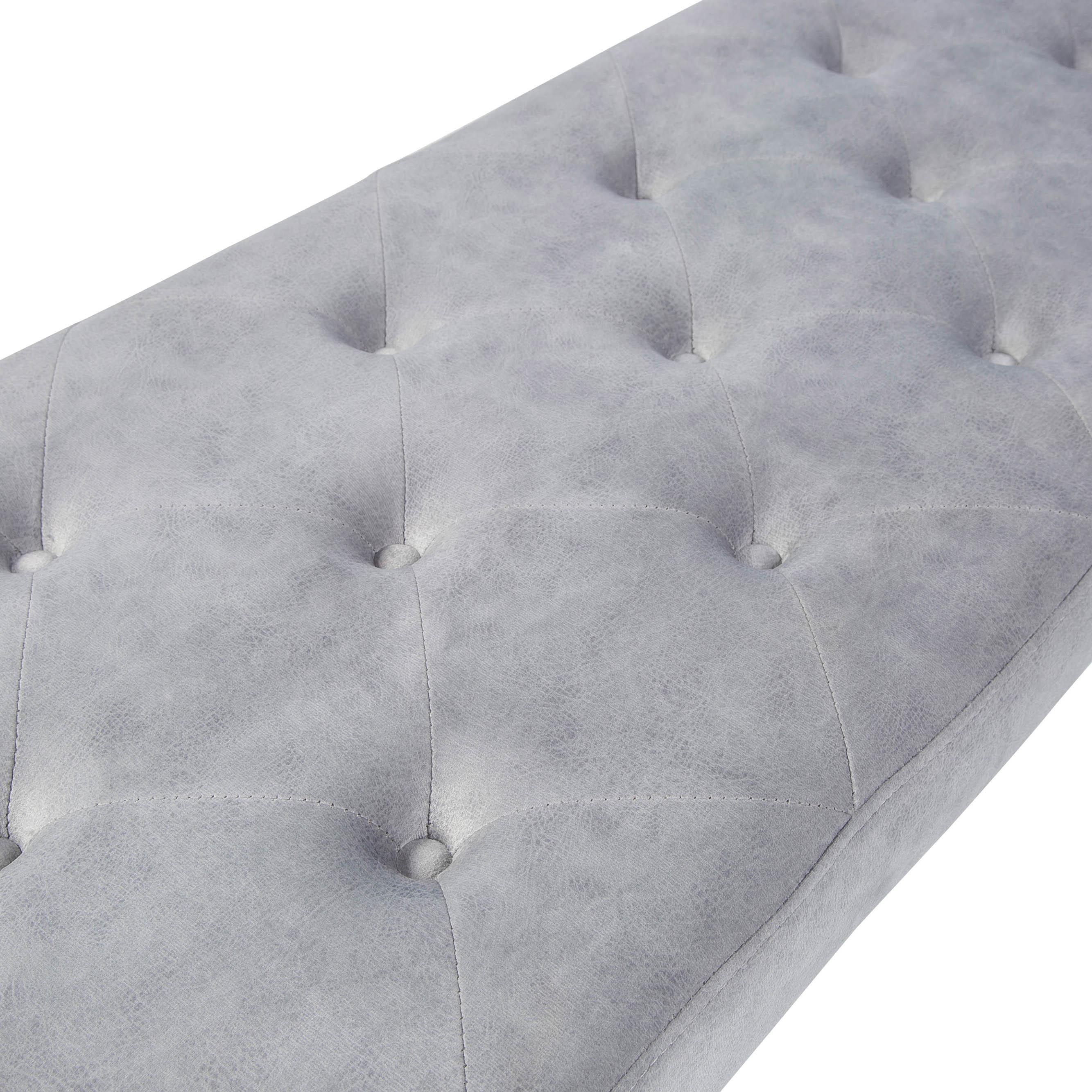 Louis Upholstered Grey Velvet Dining Bench