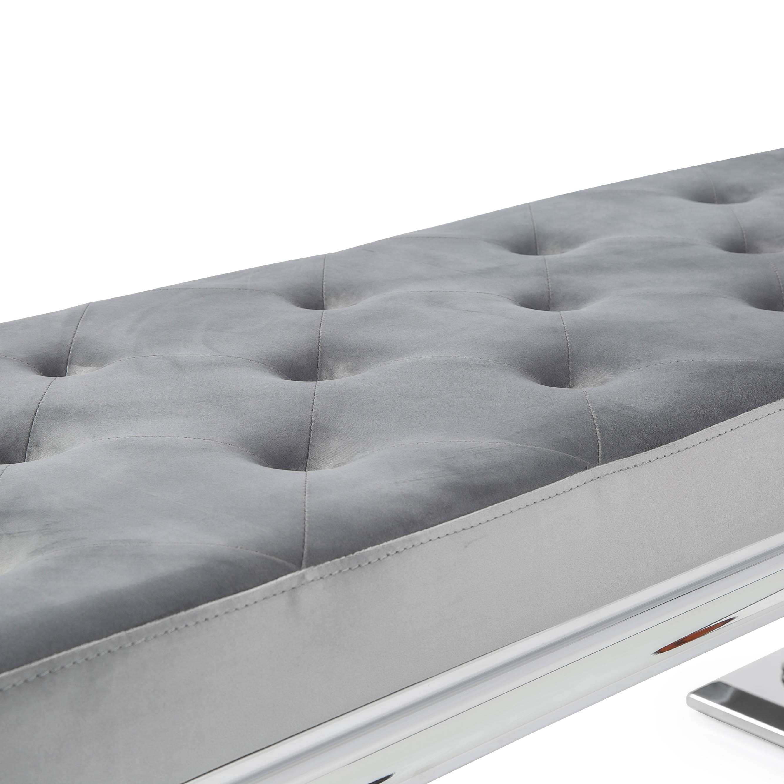 Arianna Polished Steel Grey Velvet Dining Bench
