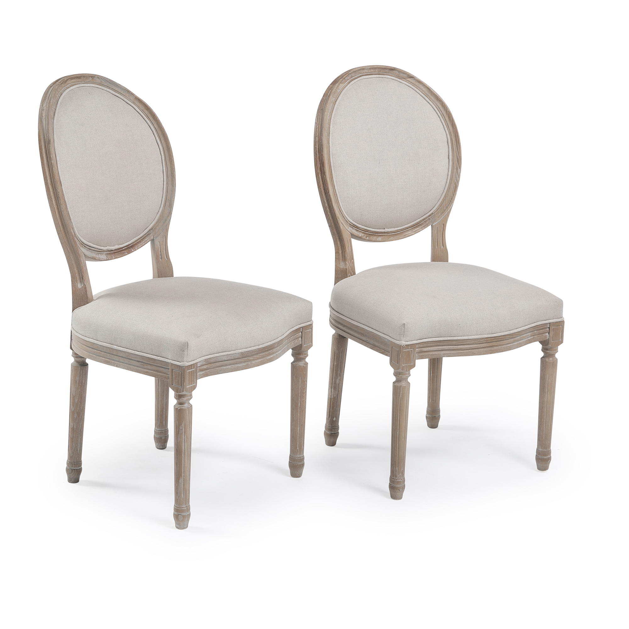 French Limed Ash Oval Back Upholstered Dining Chair (Set of 2)