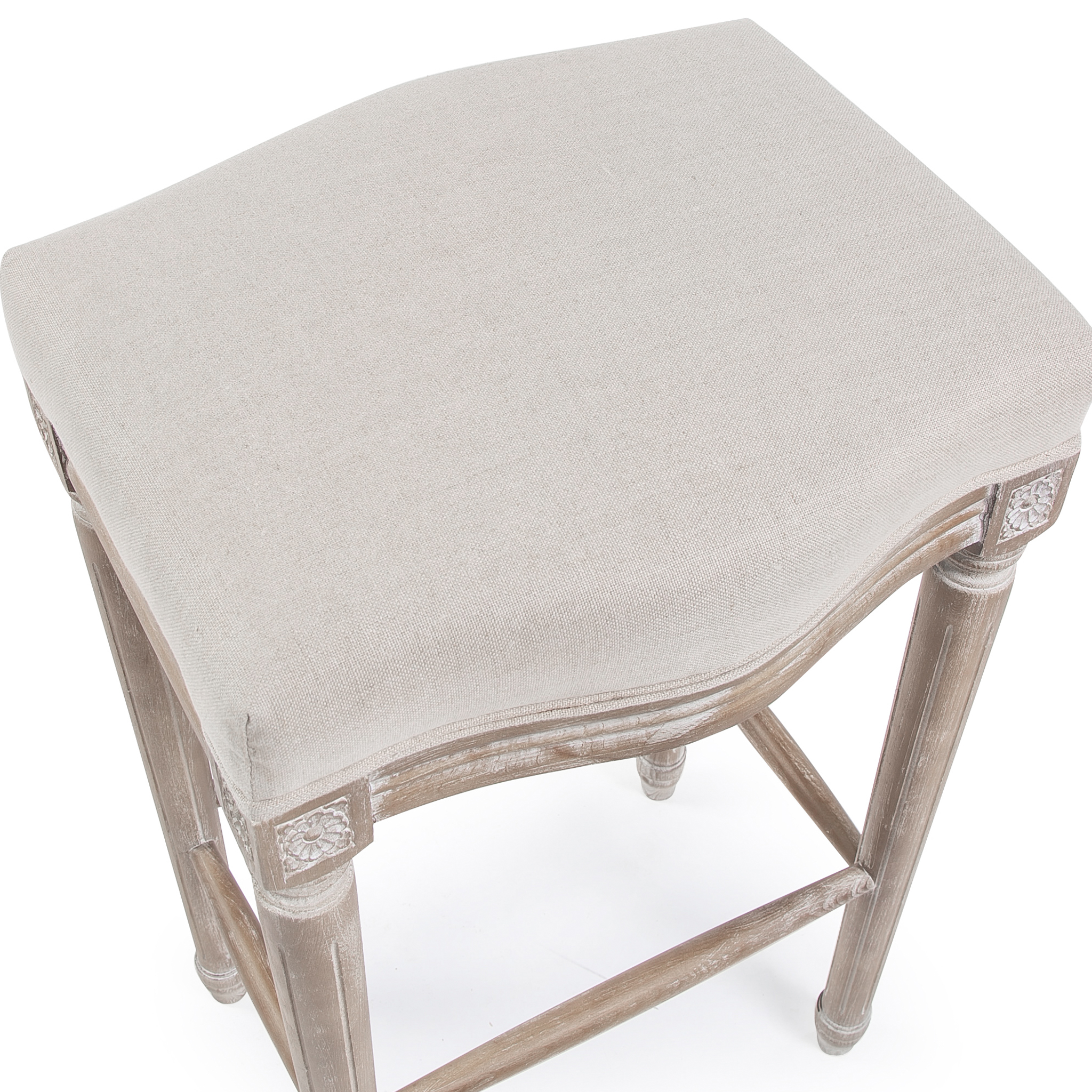 French Weathered Ash Linen Upholstered Barstool