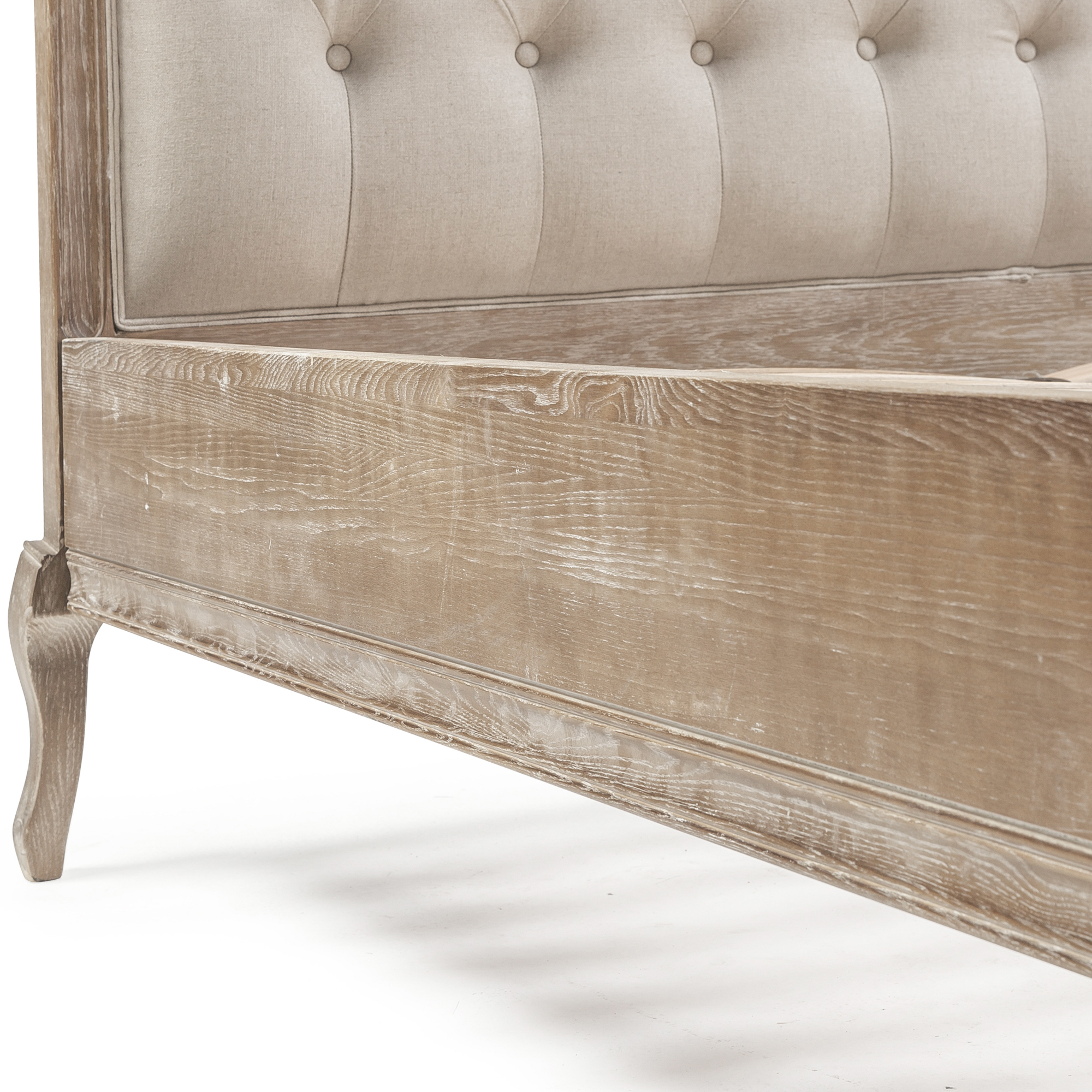 French Weathered Limed Ash Upholstered Button Back Bed – King Size