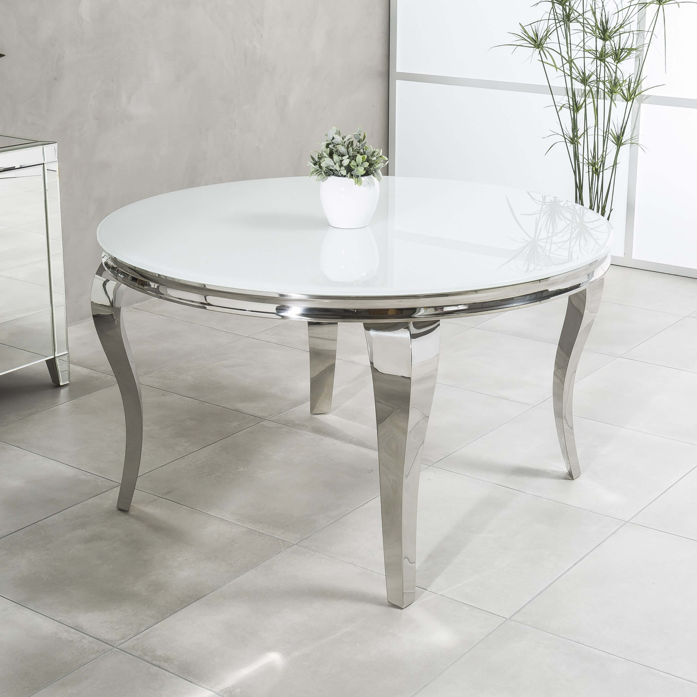 1.3m Louis Polished Circular Stainless Steel Dining Table with White Glass