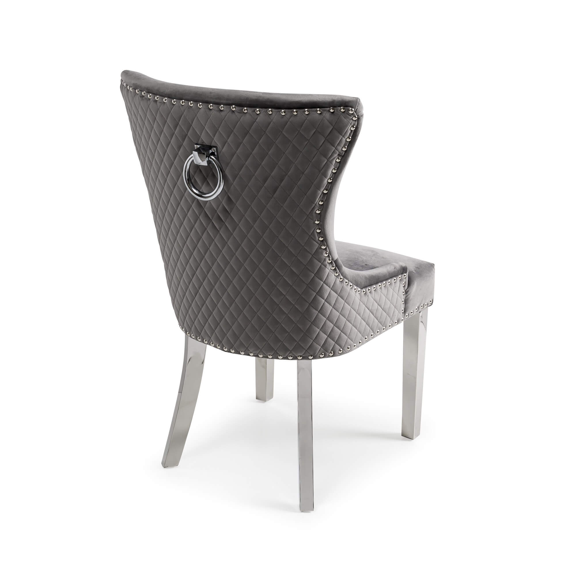 Grey Brushed Velvet Diamond Quilted Dining Chair with Polished Steel Legs