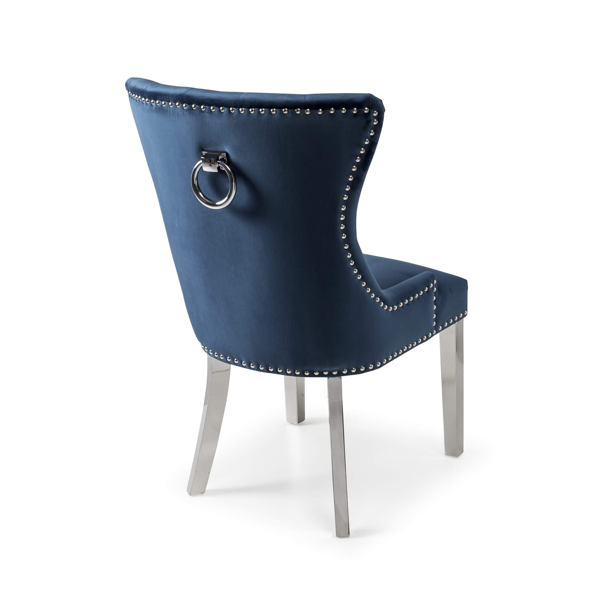 Dark Blue Brushed Velvet Dining Chair with Polished Steel Legs