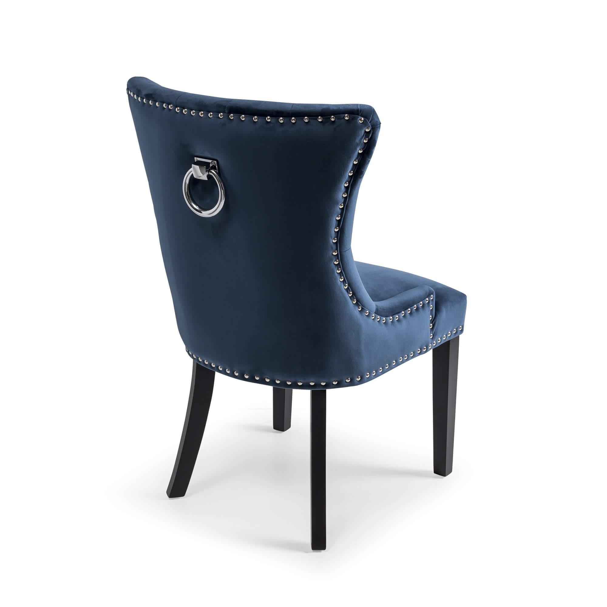 Dark Blue Brushed Velvet Dining Chair with Black Wooden Legs