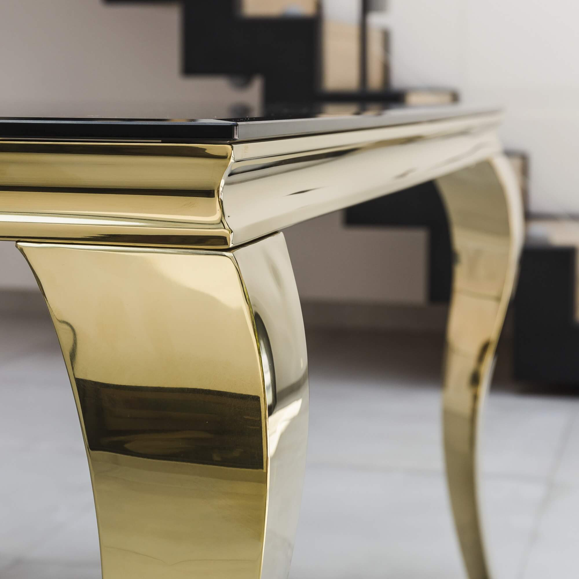 1.8M Louis Tempered Black Glass Dining Table with Gold Polished Steel Frame
