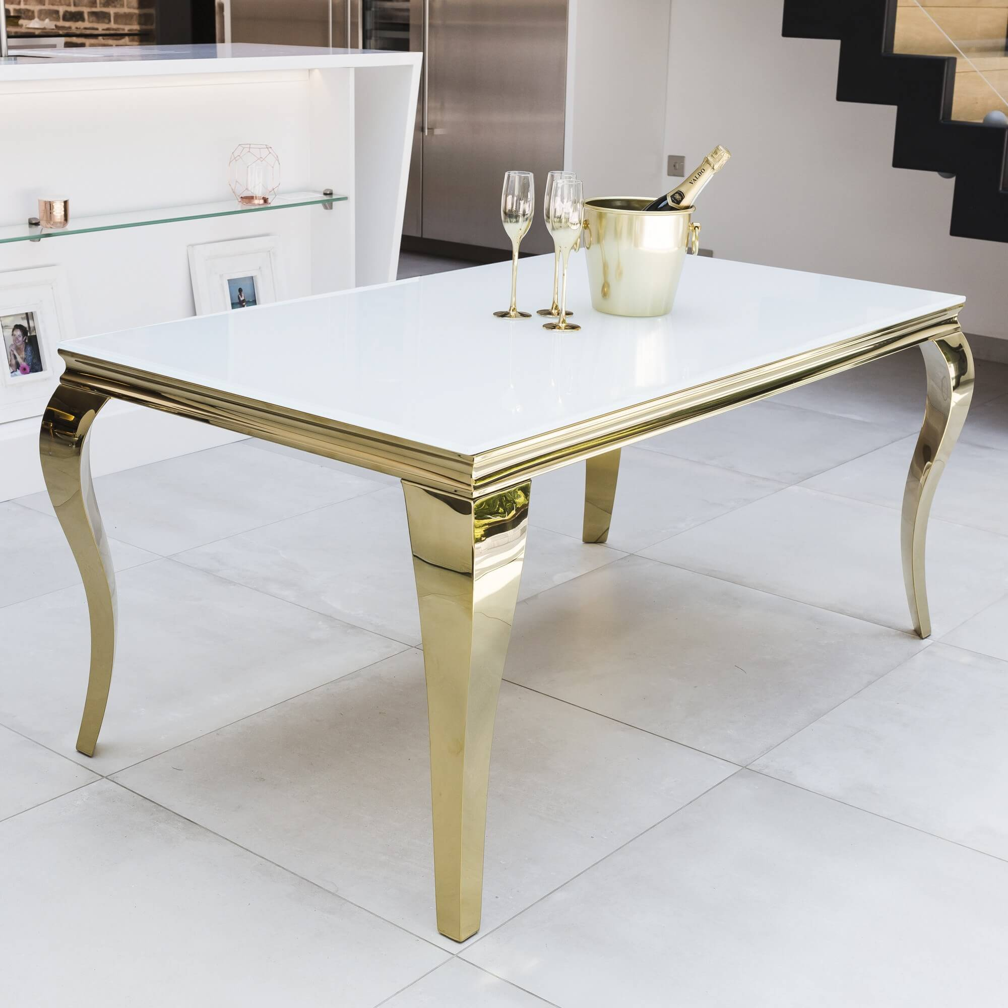 1.6M Louis Gold Polished Steel & Tempered Glass White Top Dining Table