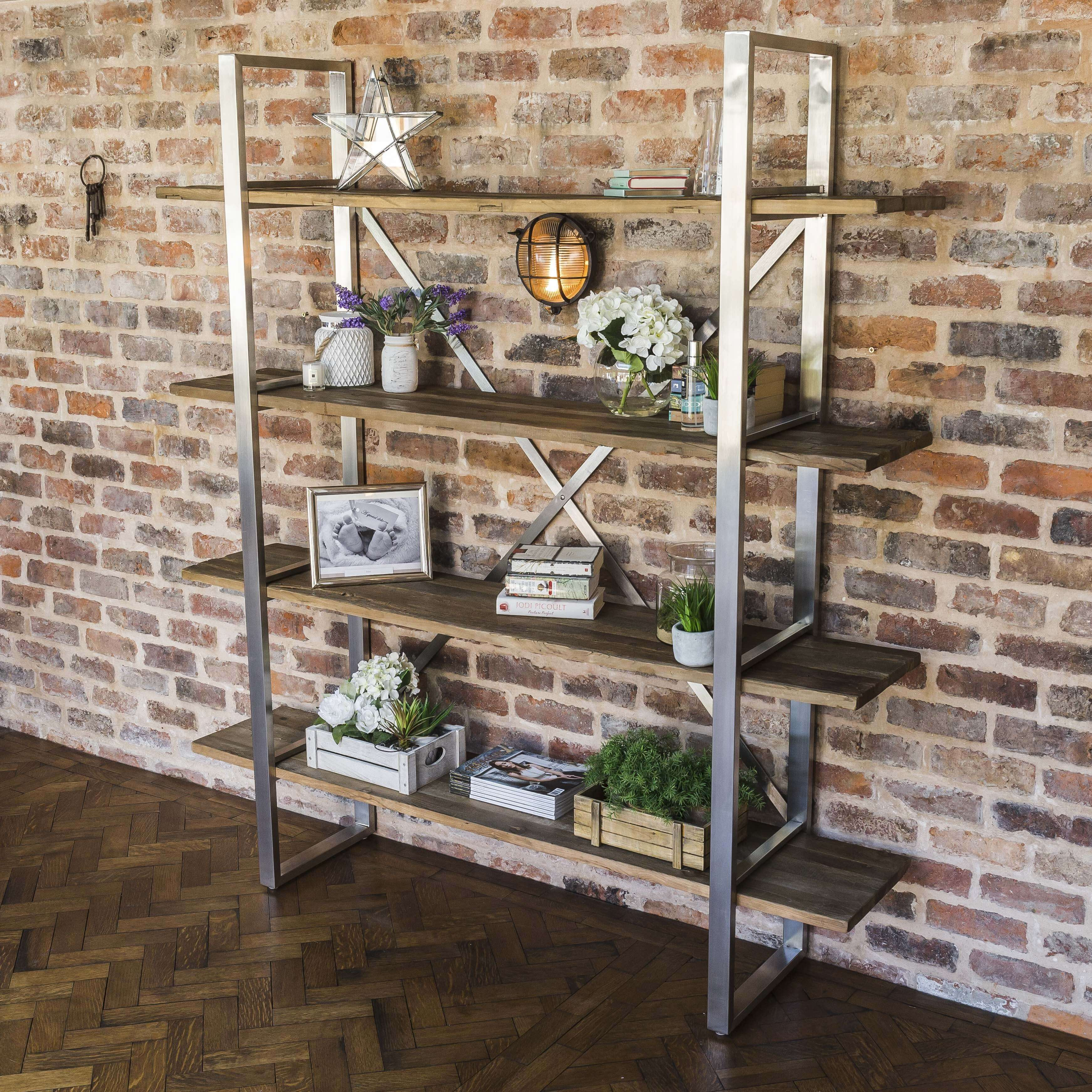 Detroit Reclaimed Elm Brushed Steel Bookshelf