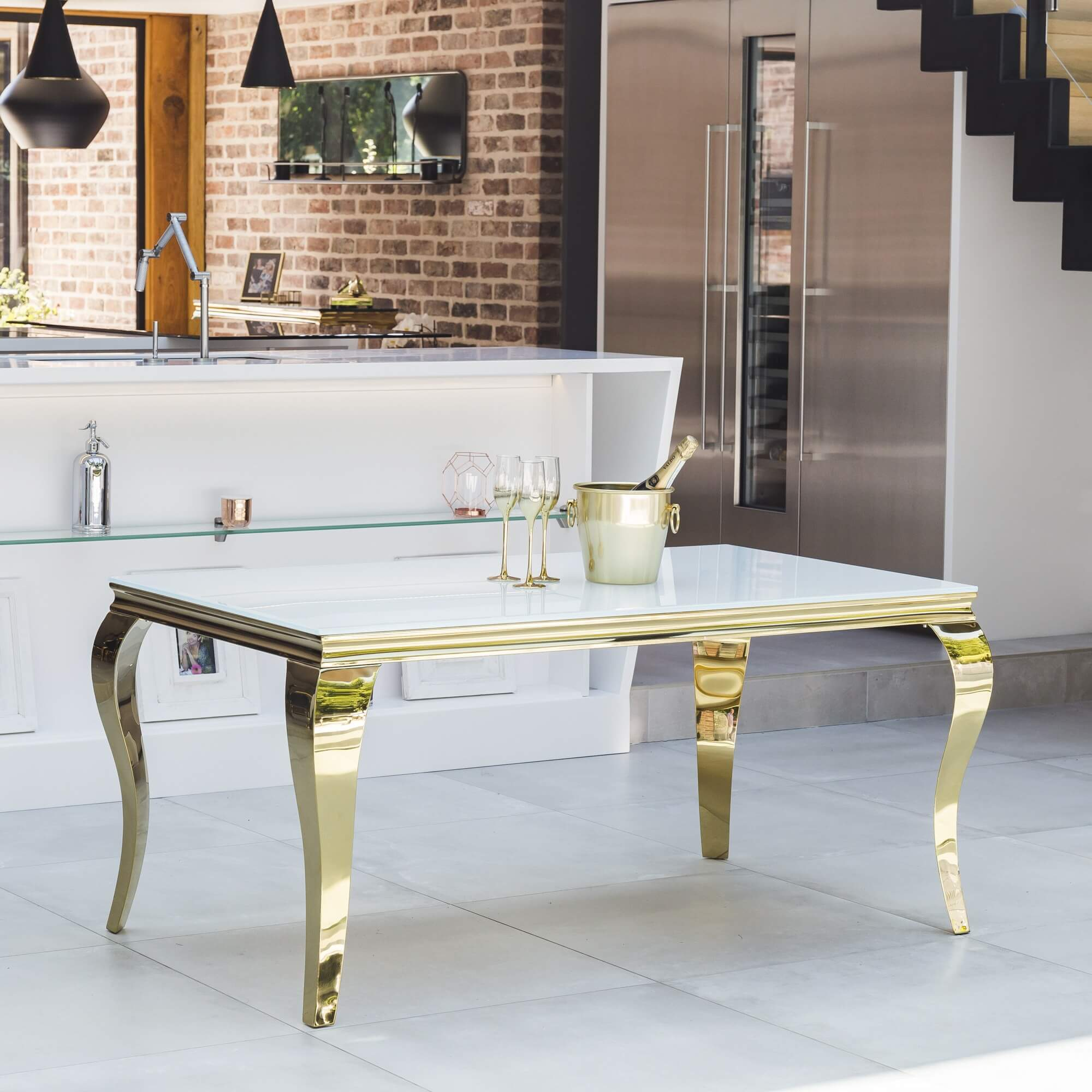 1.8M Louis Tempered White Glass Dining Table & Gold Polished Steel Base