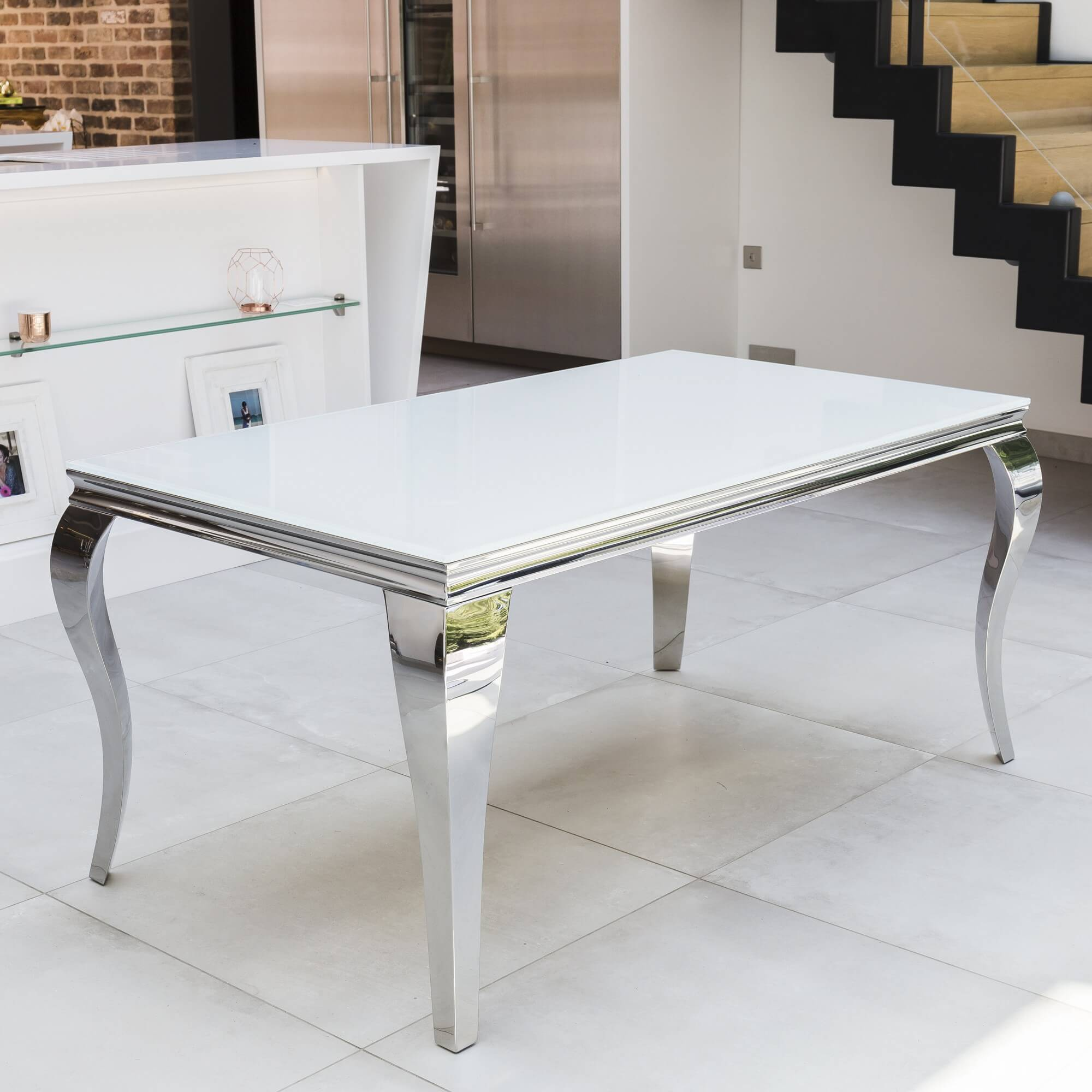 1.8m Louis Polished Stainless Steel Dining Table with White Glass