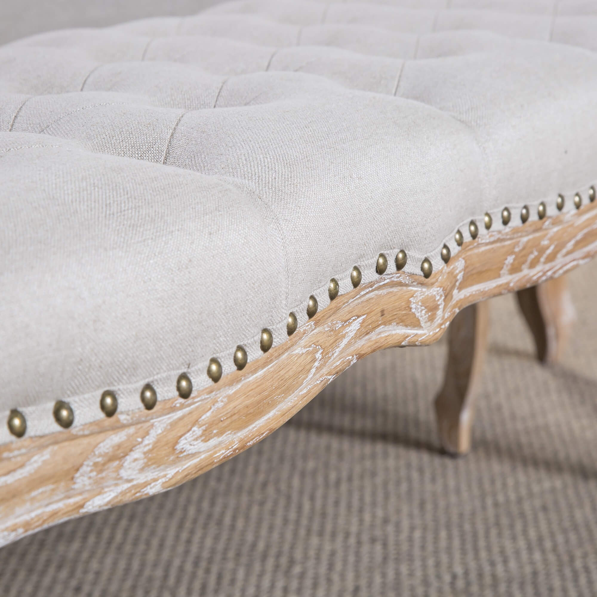 French Oak Carved Louis Bench