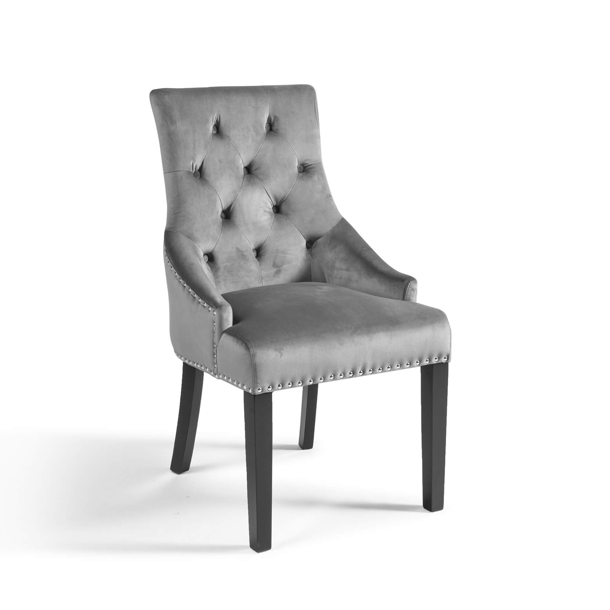 Grey Brushed Velvet Upholstered Scoop Dining Chair with Hoop