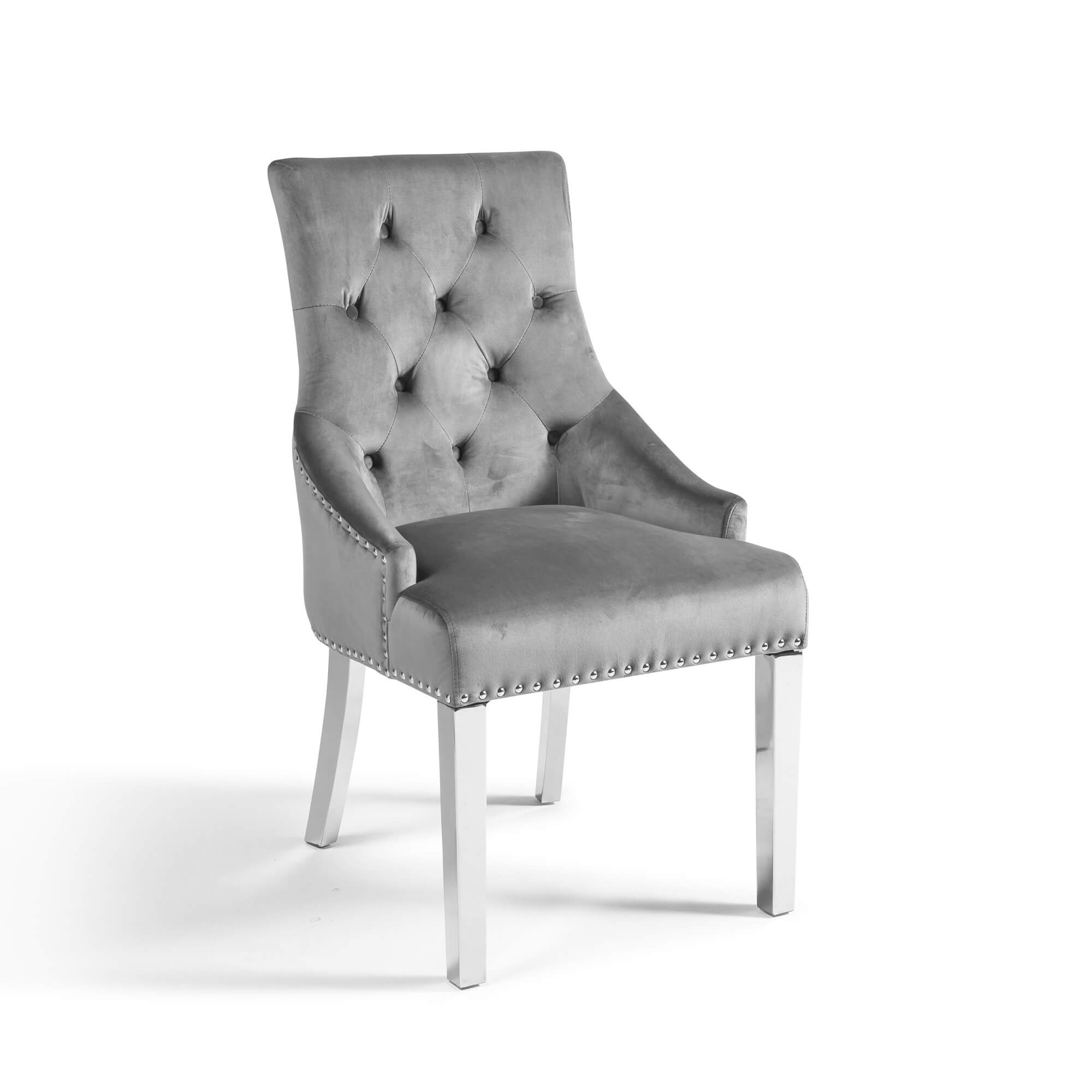 Chelsea Scoop Grey Velvet Dining Chair