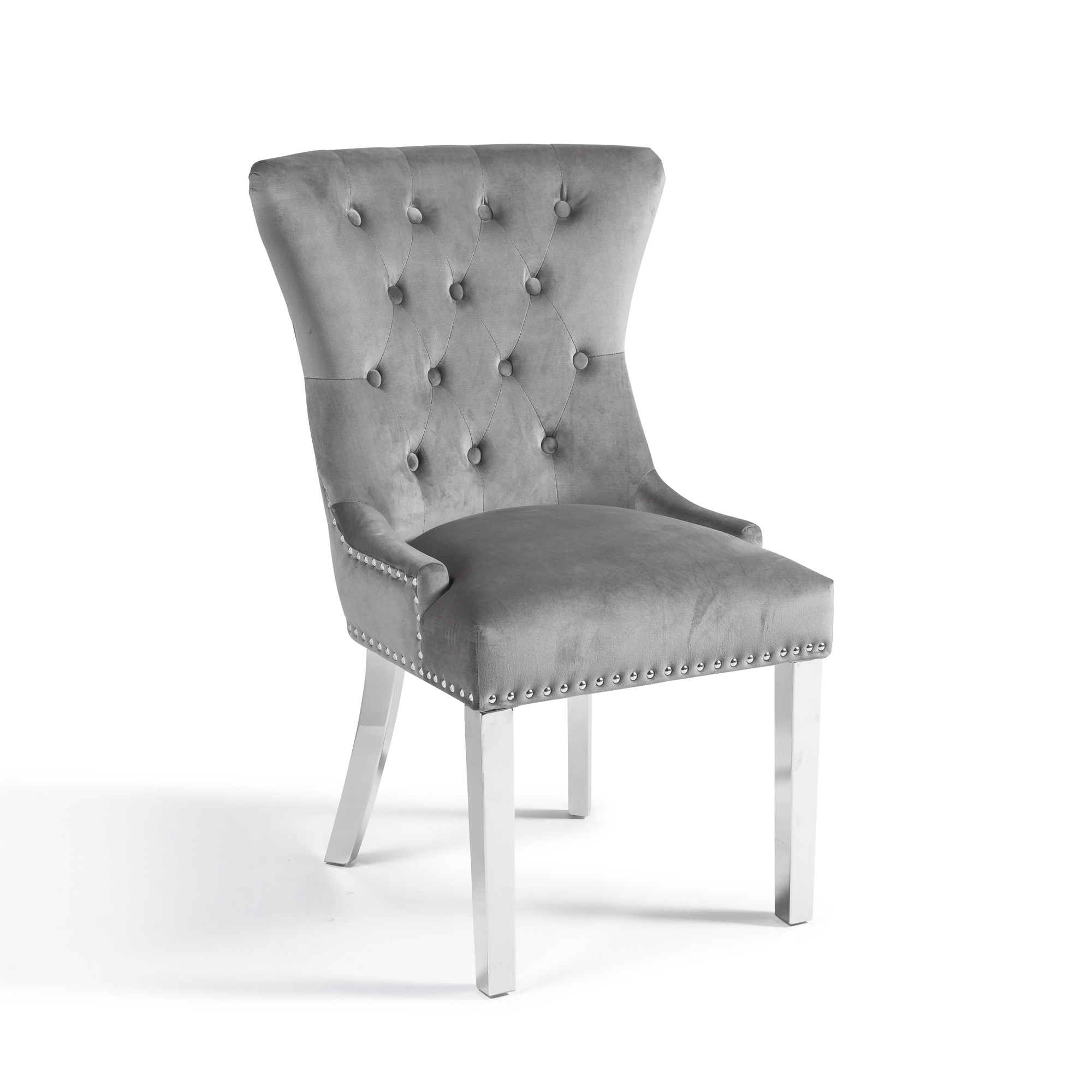 Knightsbridge Grey Brushed Velvet Dining Chair with Polished Stainless Steel Legs with Lions Head Knocker