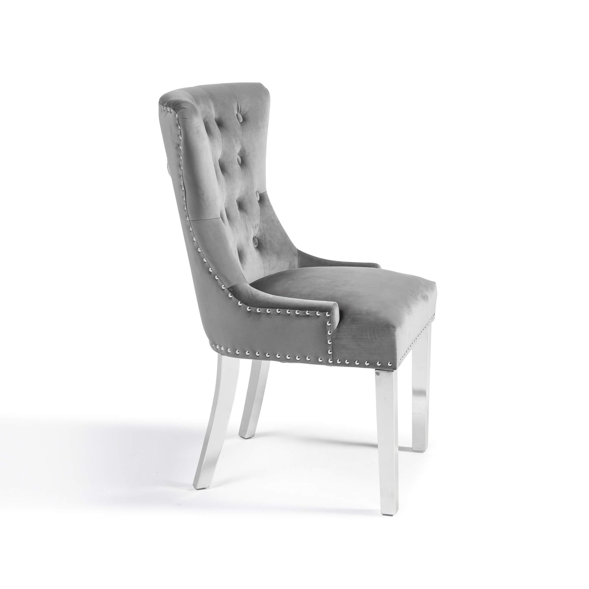 Grey Brushed Velvet Dining Chair with Polished Steel Legs – Set Of