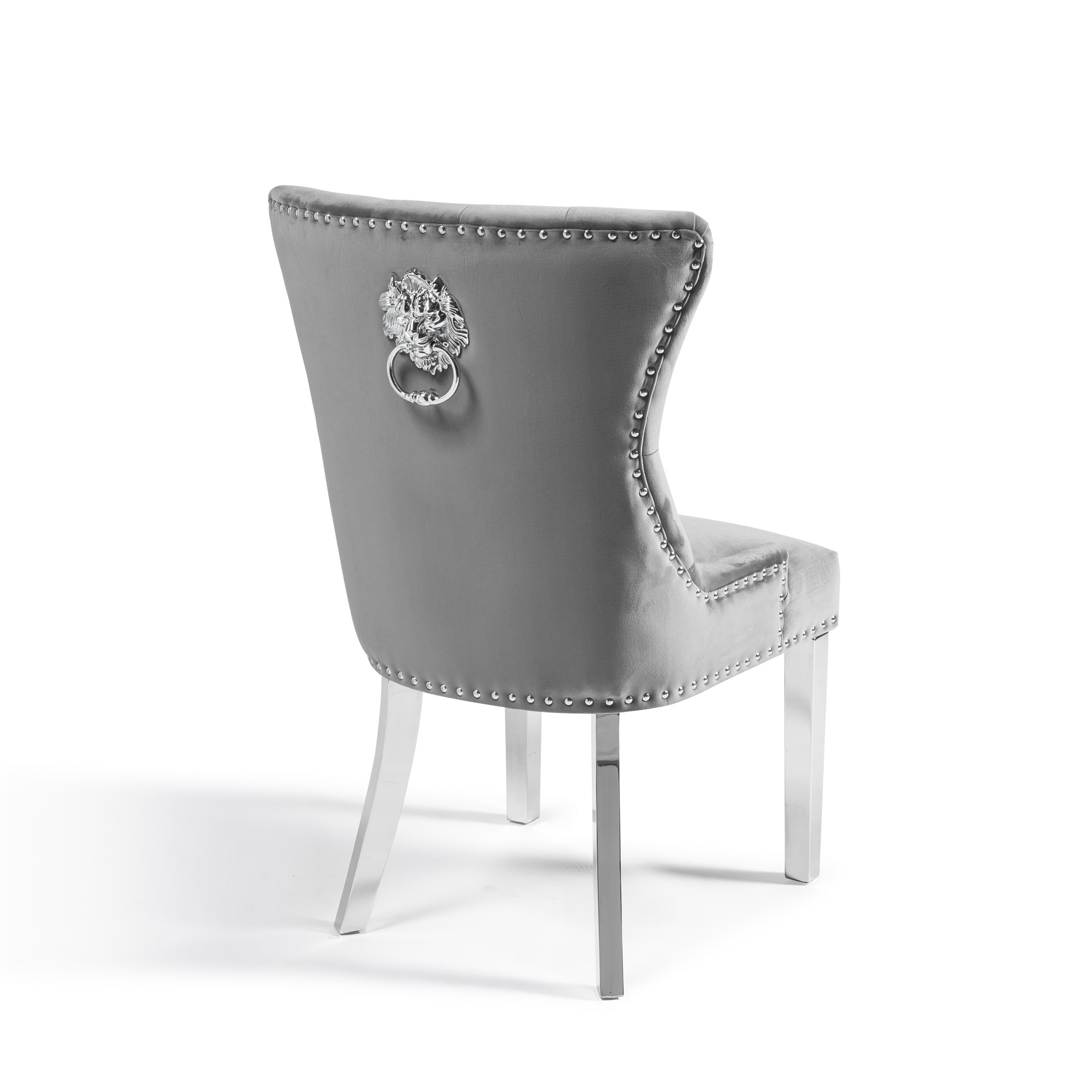 Tremendous Knightsbridge Grey Brushed Velvet Dining Chair With Polished Stainless Steel Legs With Lions Head Knocker Gamerscity Chair Design For Home Gamerscityorg