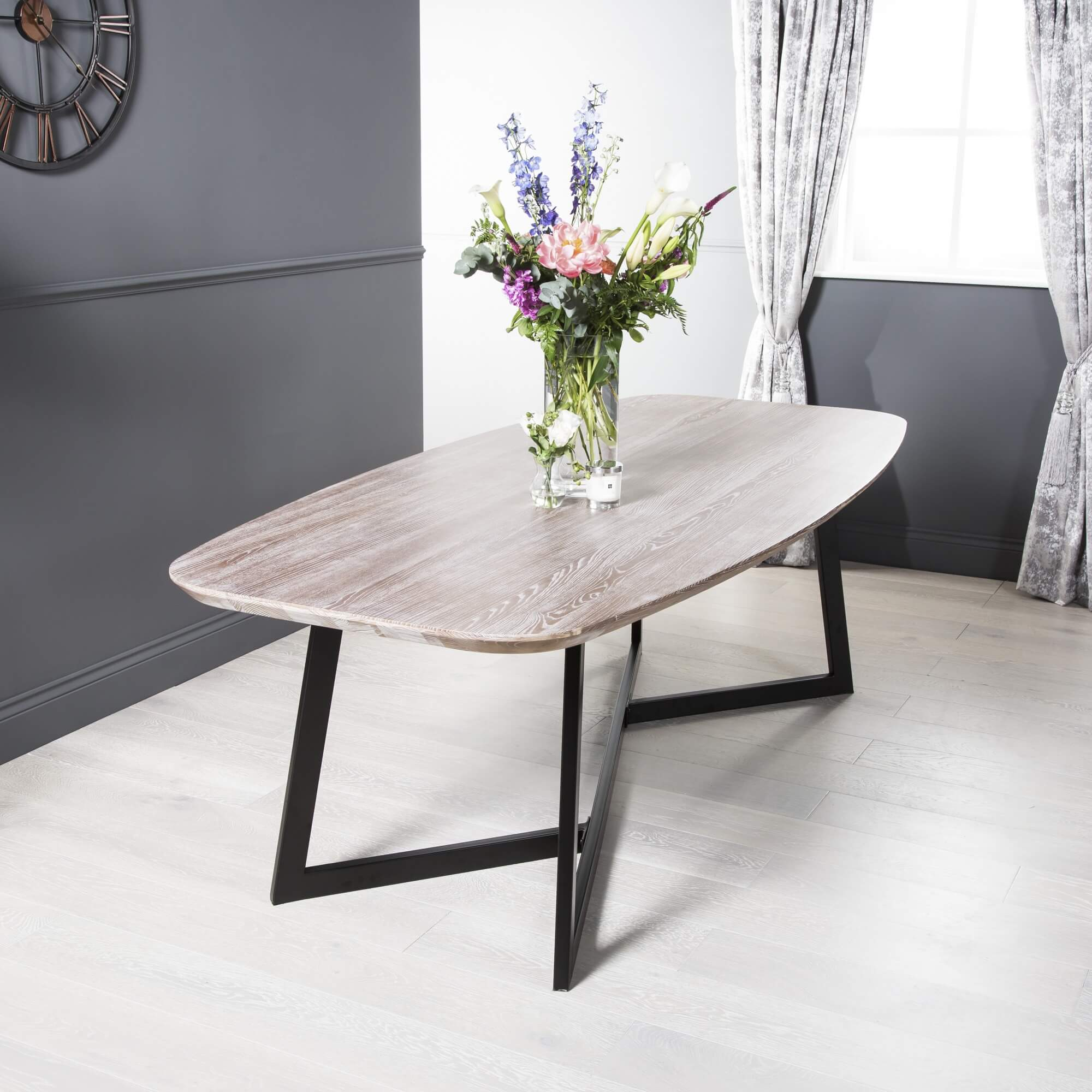 2.4m Solid Oval Ash Dining Table