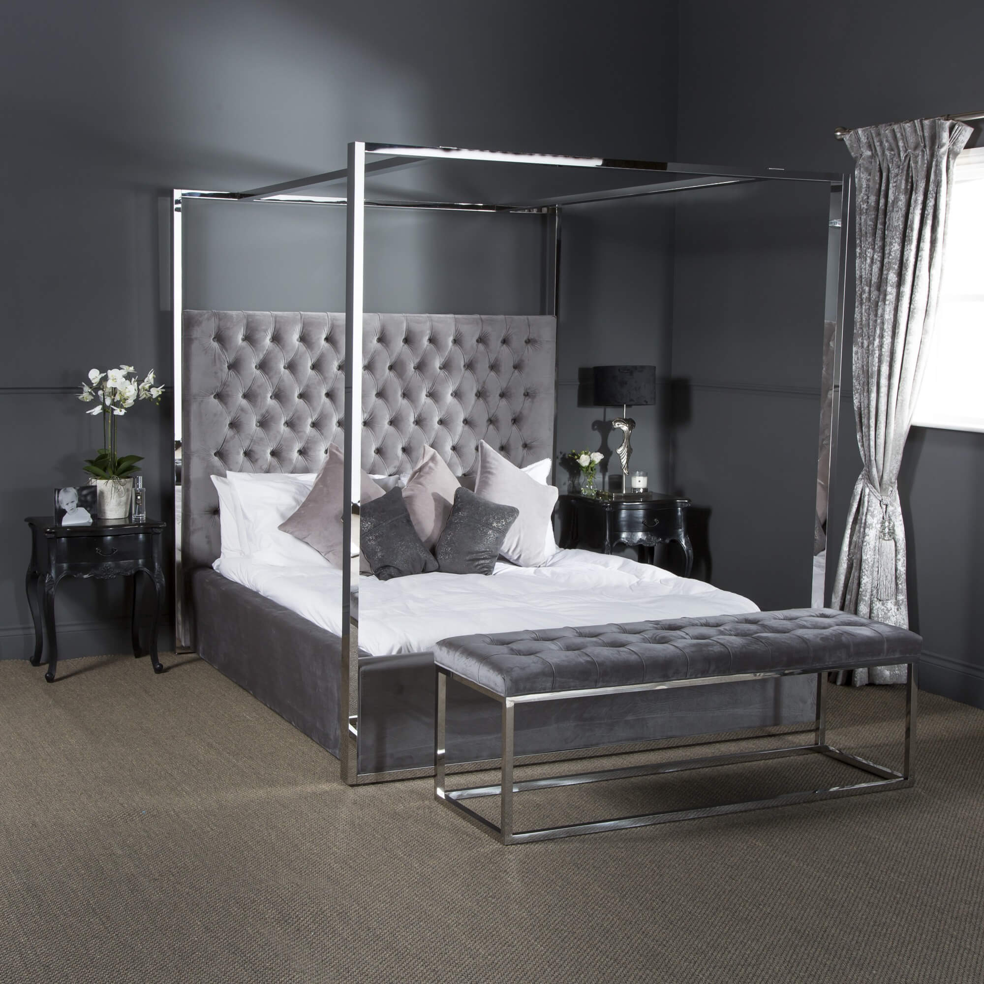 Boston Super King Size Polished Steel Velvet Four Poster Bed