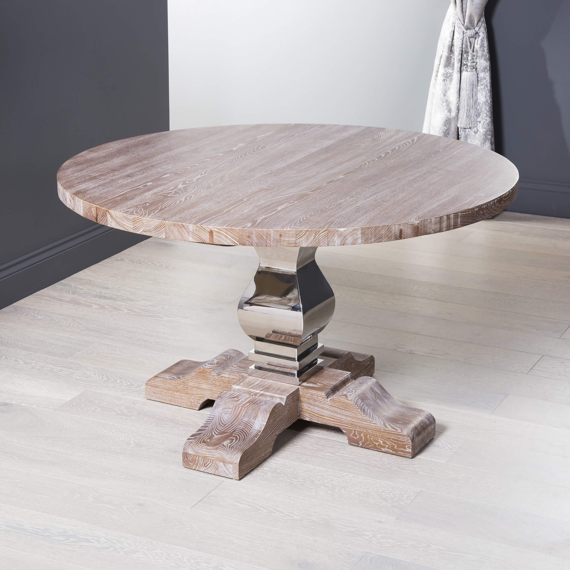 1.3m French Style Elm Circular Dining Table