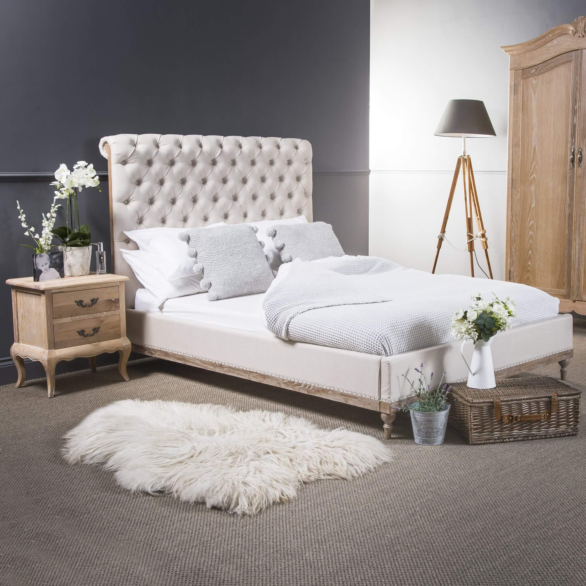 Super King Size Limed Ash Linen Chesterfield Bed with Low Foot Board