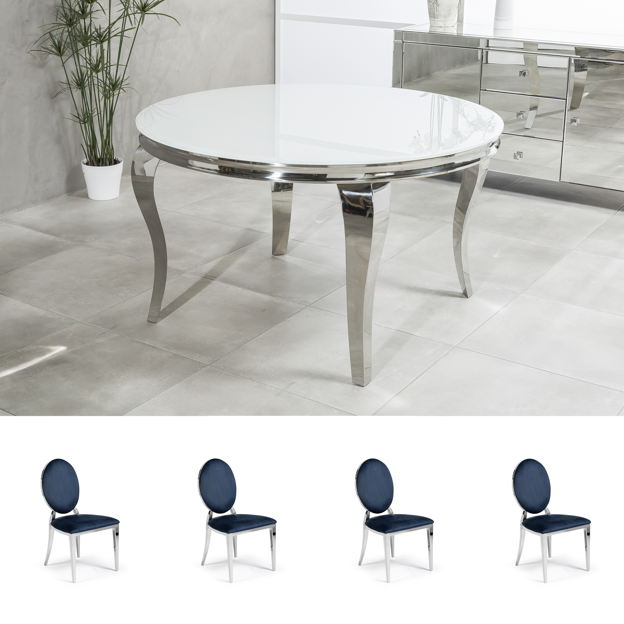 6e0aa1531f792 1.3m Circular Louis Polished Steel Dining White Glass Table Set with 4  Louis Blue Dining Chairs