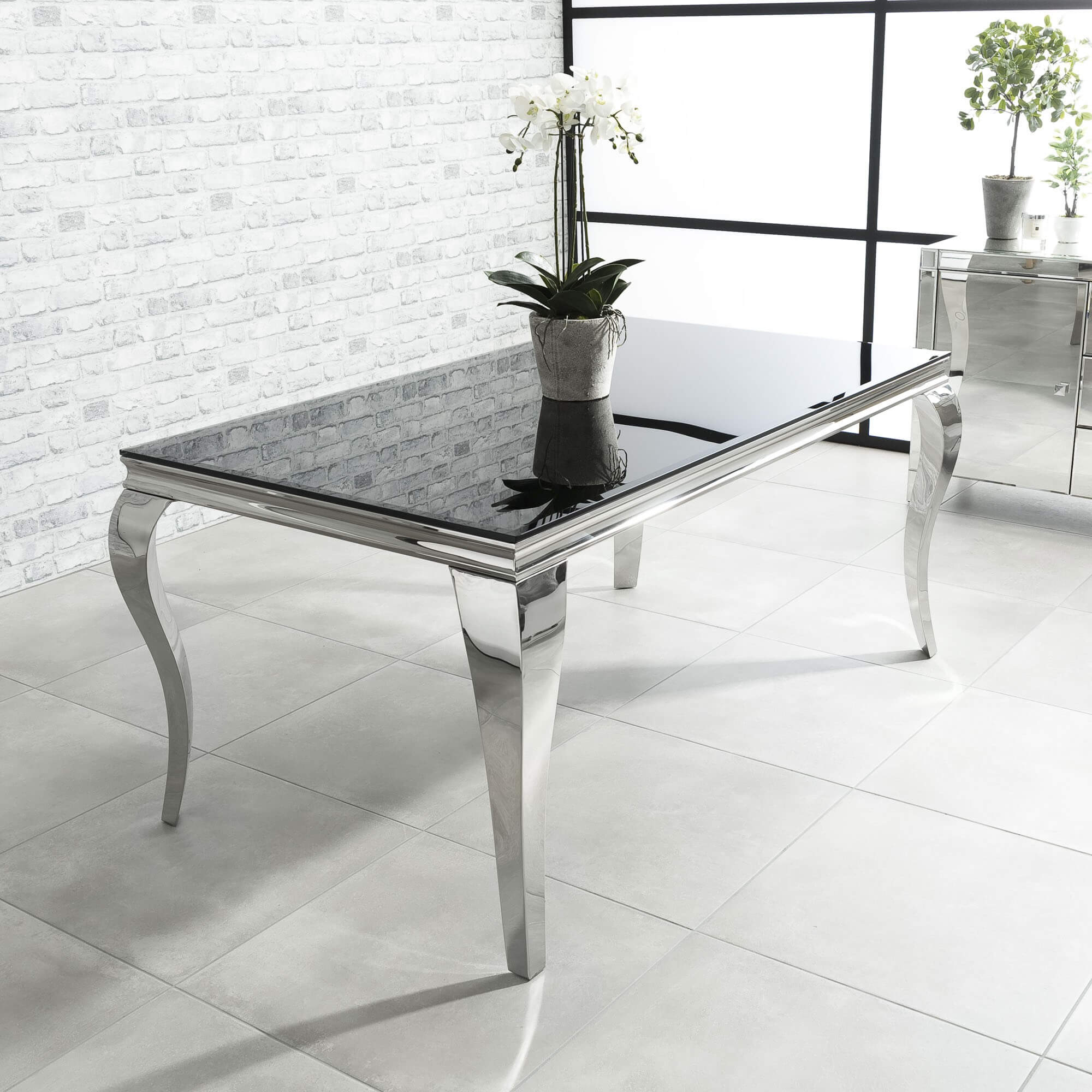 2m Louis Polished Stainless Steel Dining Table with Black Glass