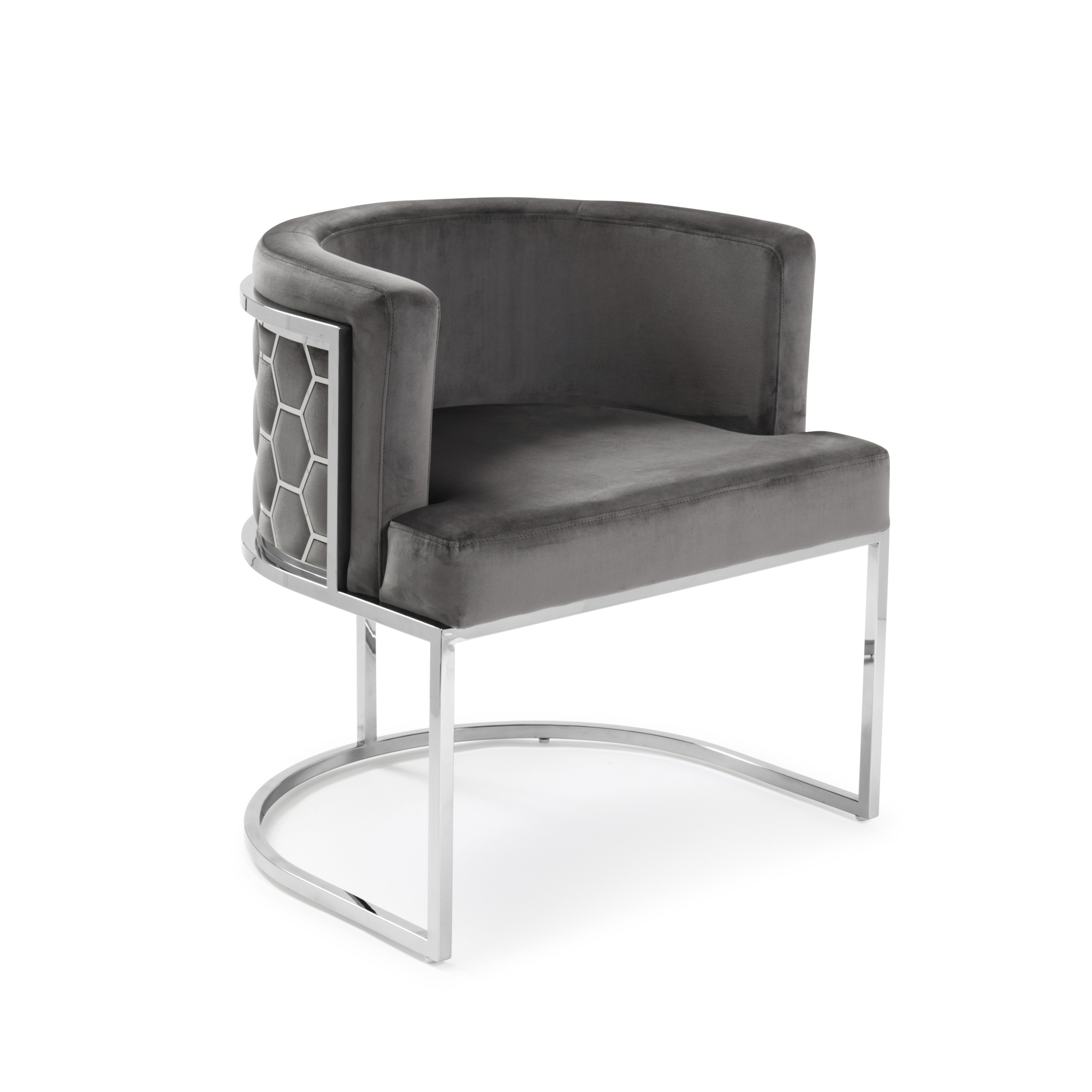 Barcelona Grey Brushed Velvet Dining Chair with a Stainless Steel Frame