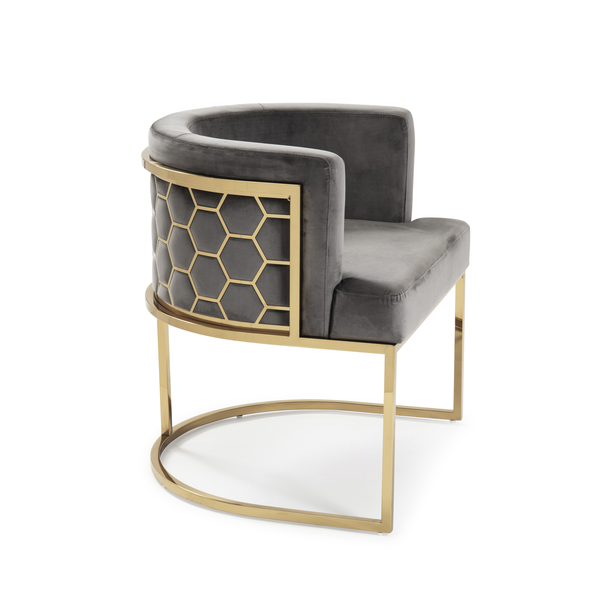 Barcelona Grey Brushed Velvet Dining Chair with a Gold Steel Frame