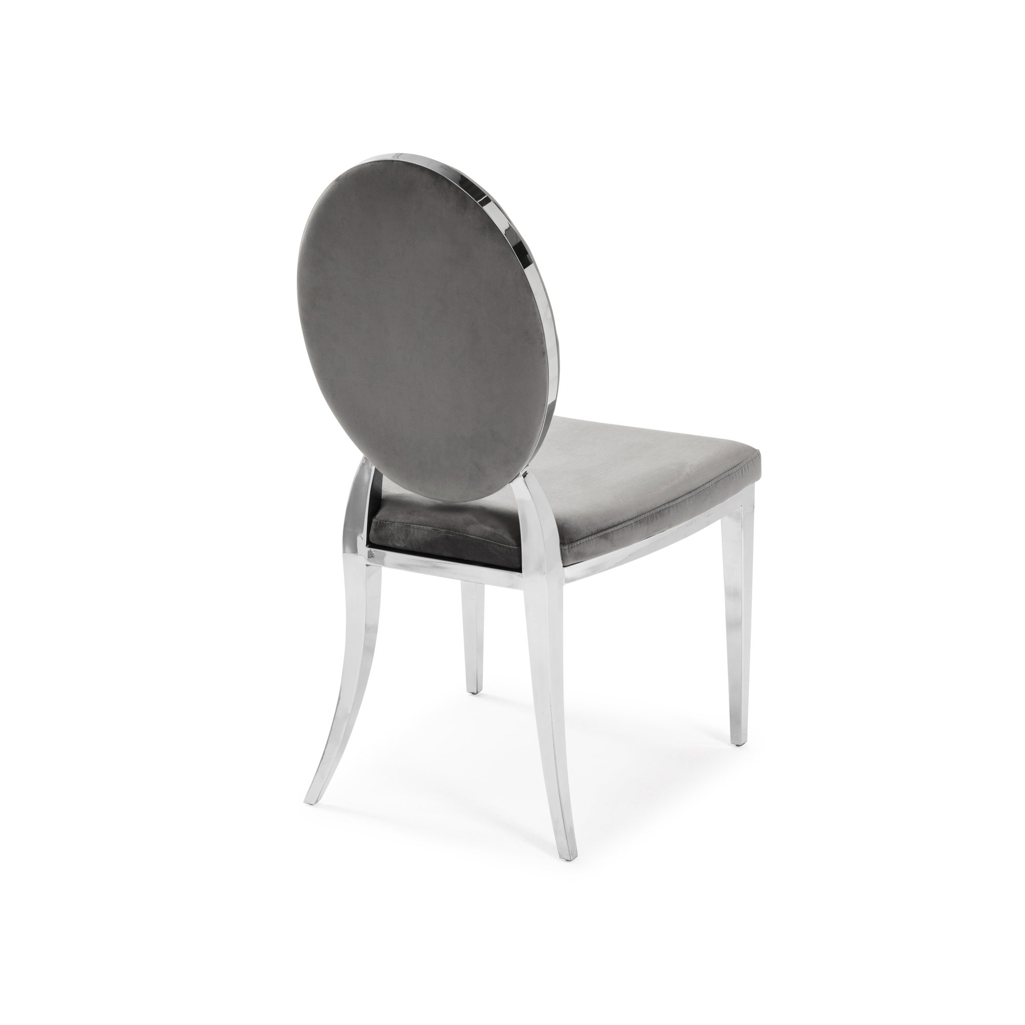 1.3m Louis White Round Marble Dining Table & Chairs Set (x4 Grey Velvet Dining Chairs)