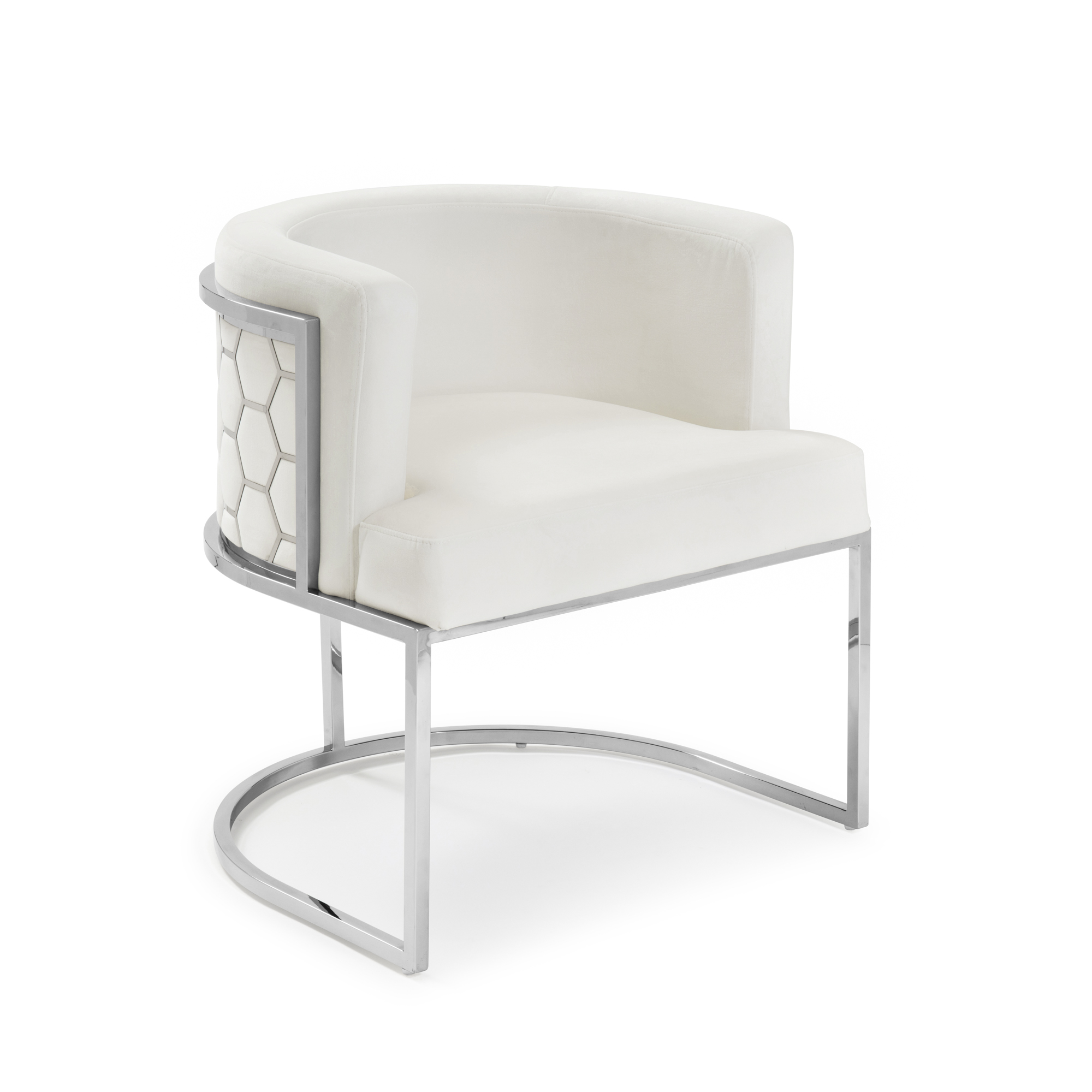Barcelona Pearl White Brushed Velvet Stainless Steel Dining Chair