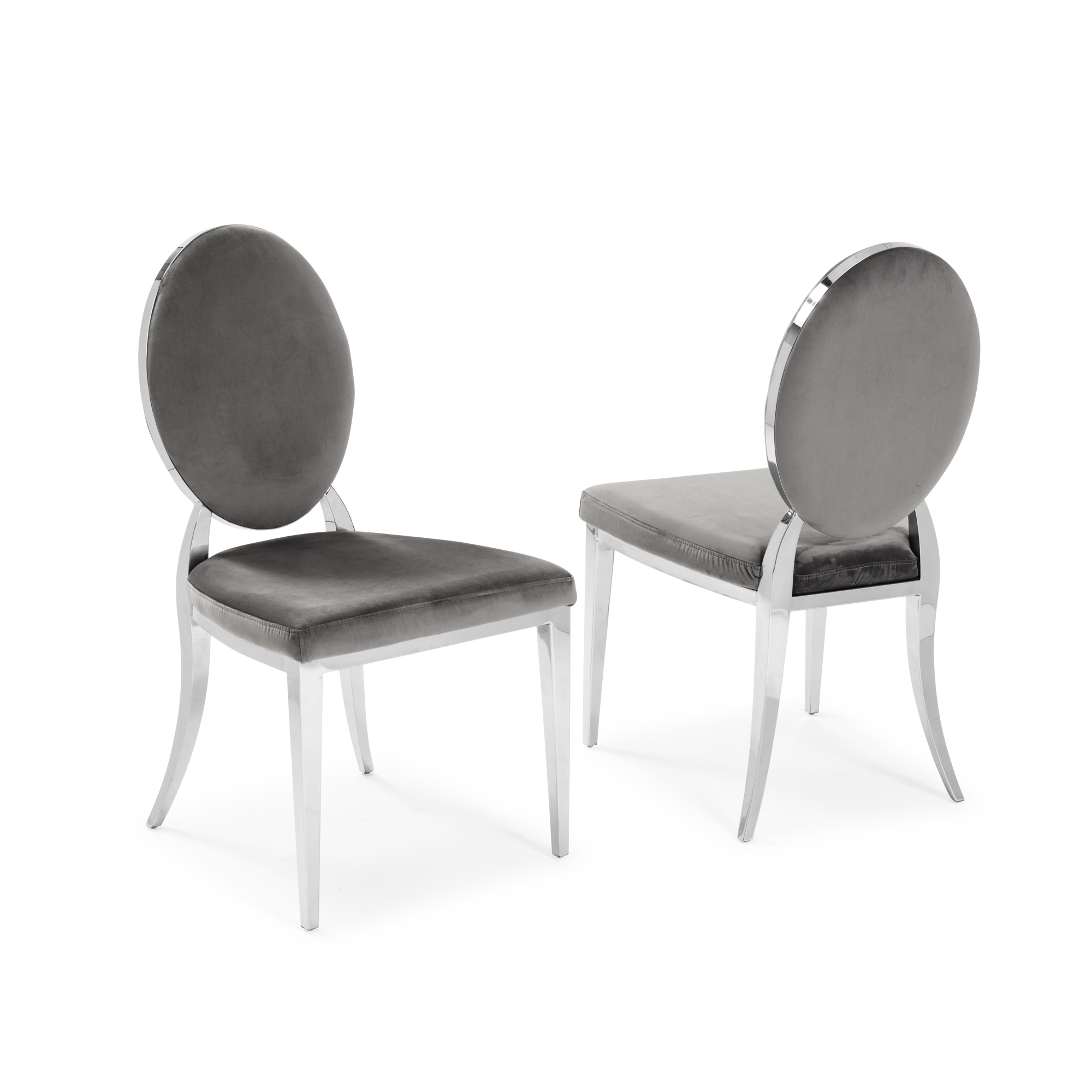Small 1.06m Round Grey Marble Dining Table & Chairs – 4x Grey Velvet Dining Chairs