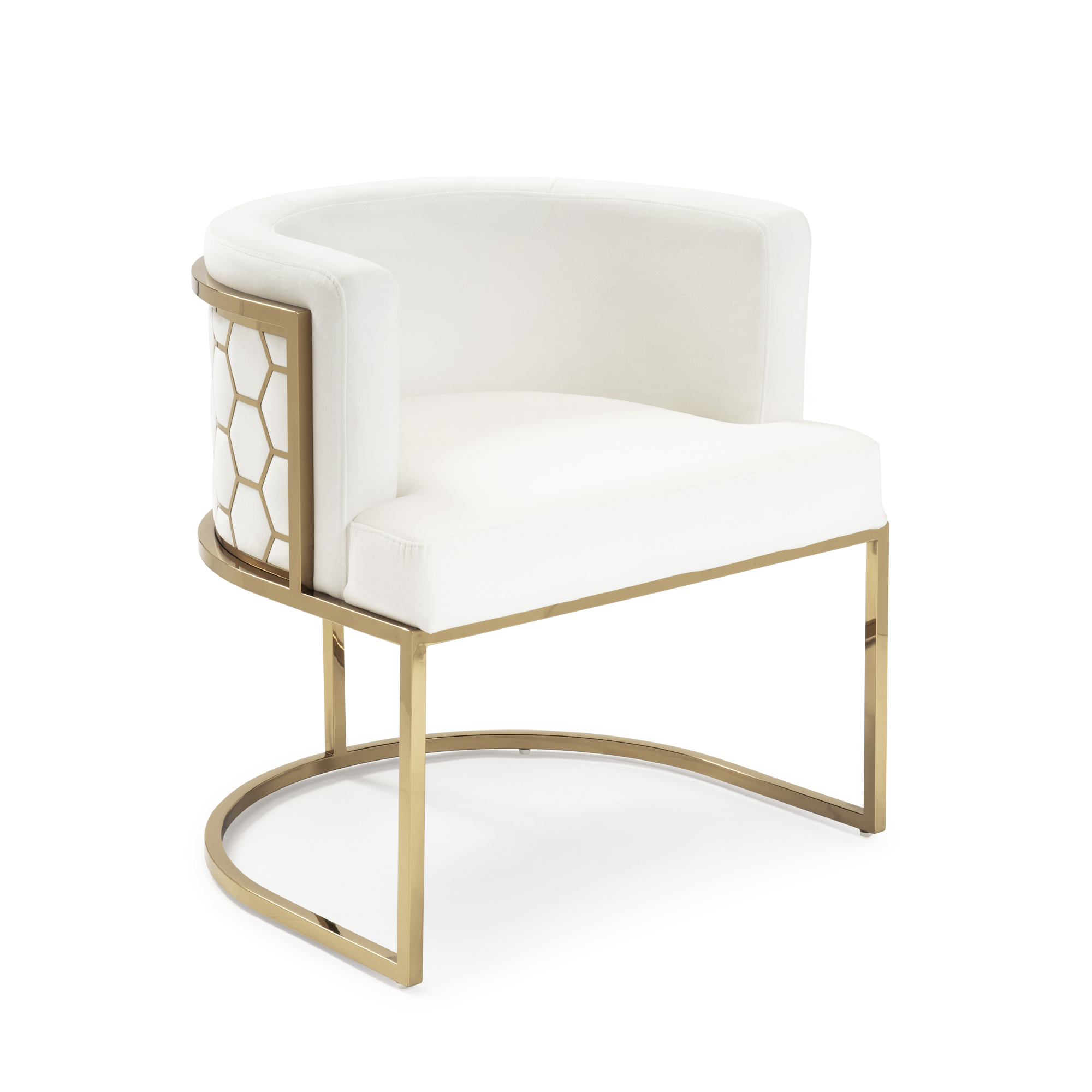 Barcelona Pearl White Brushed Velvet Dining Chair with a Gold Steel Frame